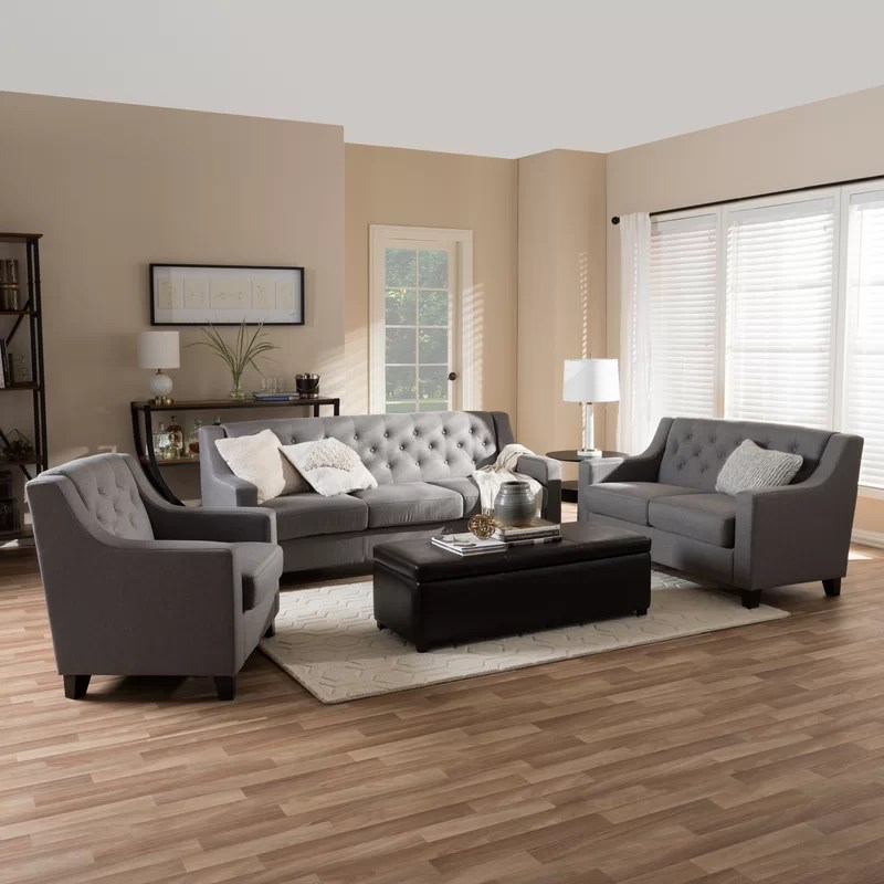 Wholesale Interiors Baxton 3 Piece Living Room Set \ Reviews Wayfair - 3 piece living room sets