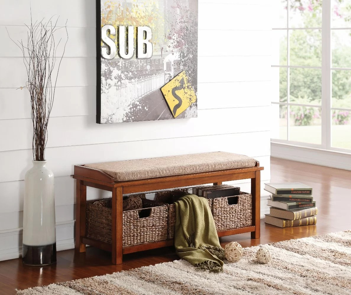 Wooden Storage Bench Wasilewski Wooden Wood Storage Bench