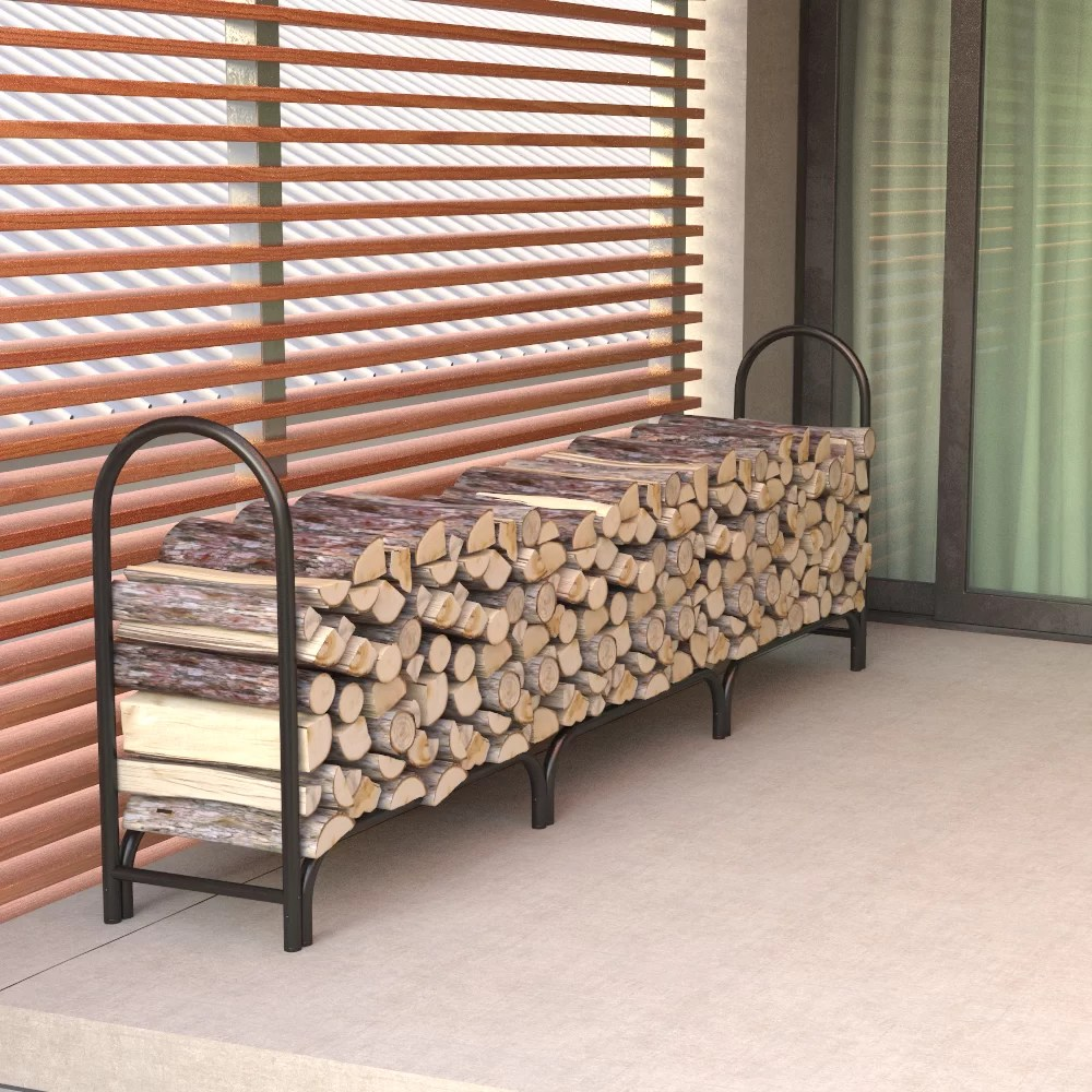 Outdoor Firewood Rack Double Frame Heavy Deluxe Duty Firewood Log Rack