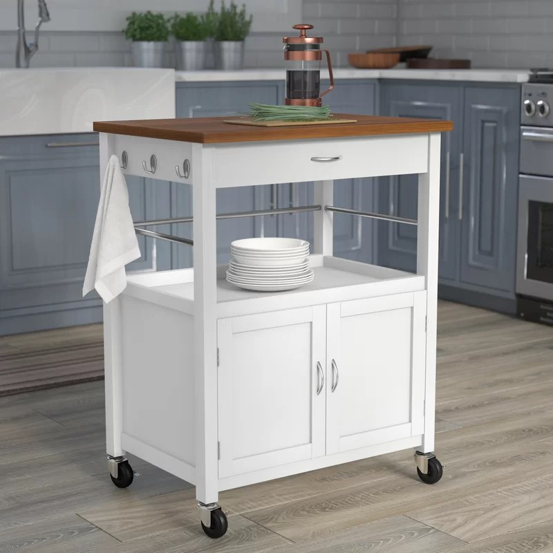 Guss Kitchen Island Cart With Natural Butcher Block Bamboo Top Andover Mills Guss Kitchen Island Cart With Natural