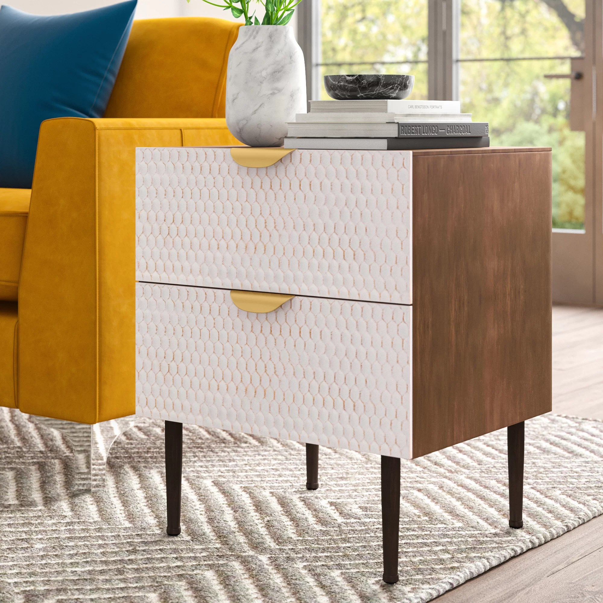 End Table For Living Room Moritz Honeycomb End Table With Storage