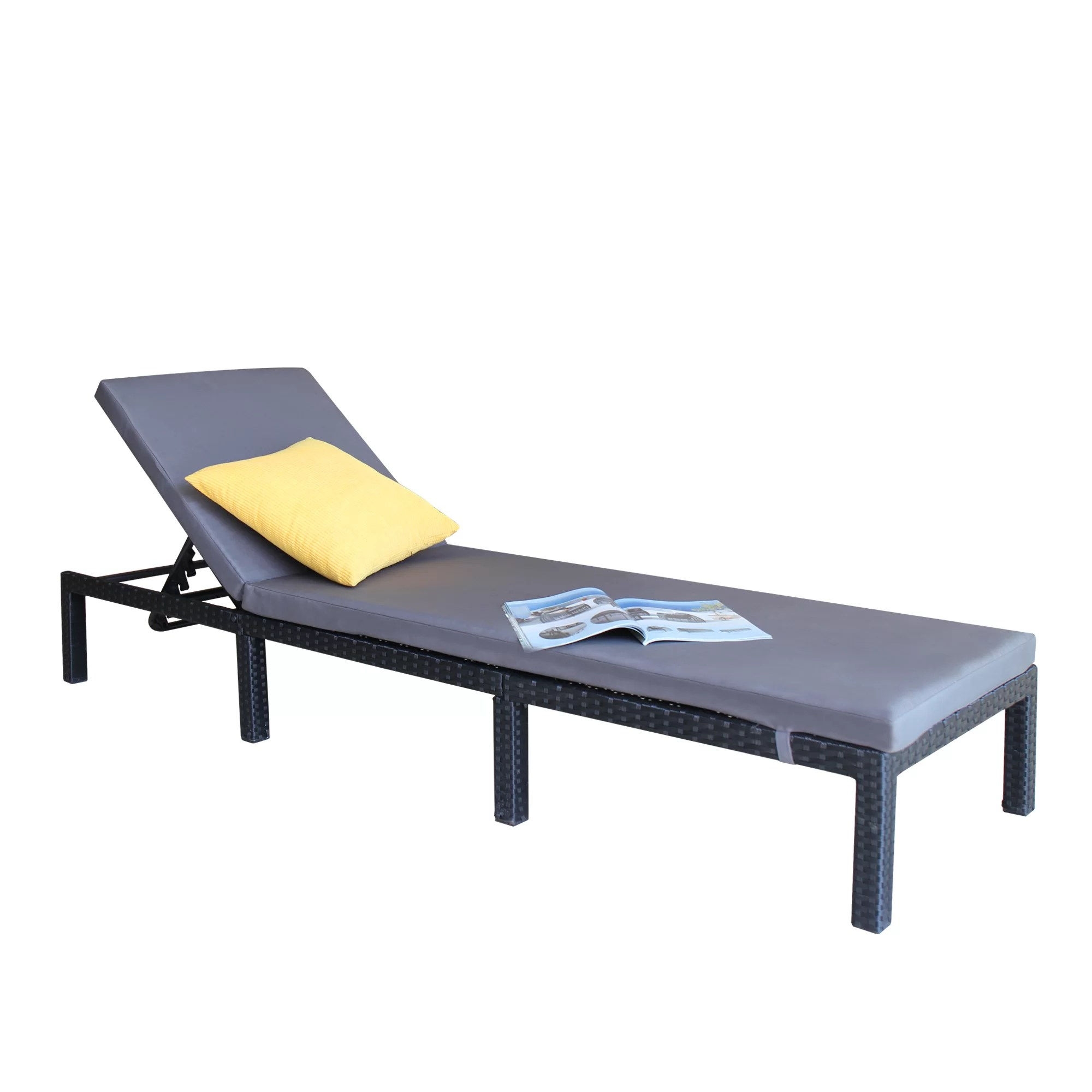 Chaises Elizabeth Anthonyville Outdoor Adjustable Reclining Chaise Lounge With Cushion