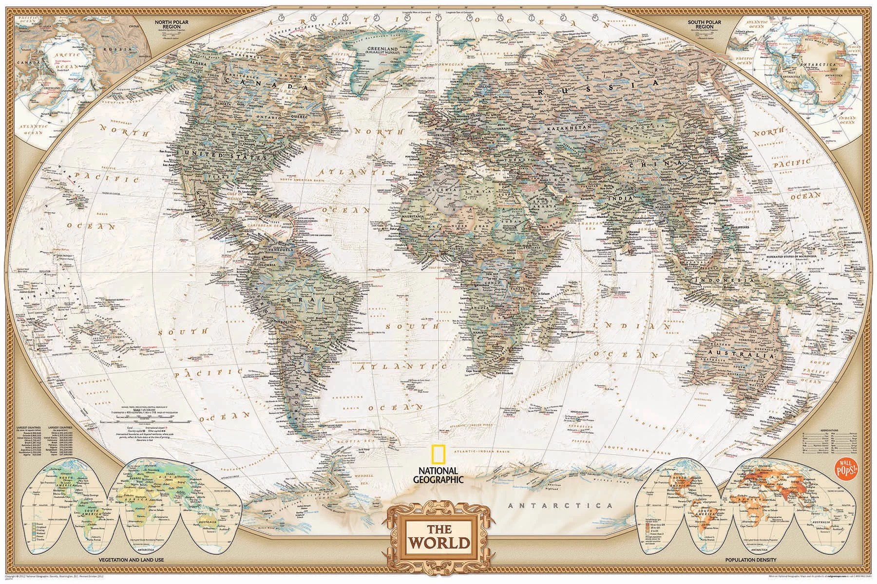 Carte Monde Murale Wallpops Wall Art Kit National Geographic World Map Wall Mural