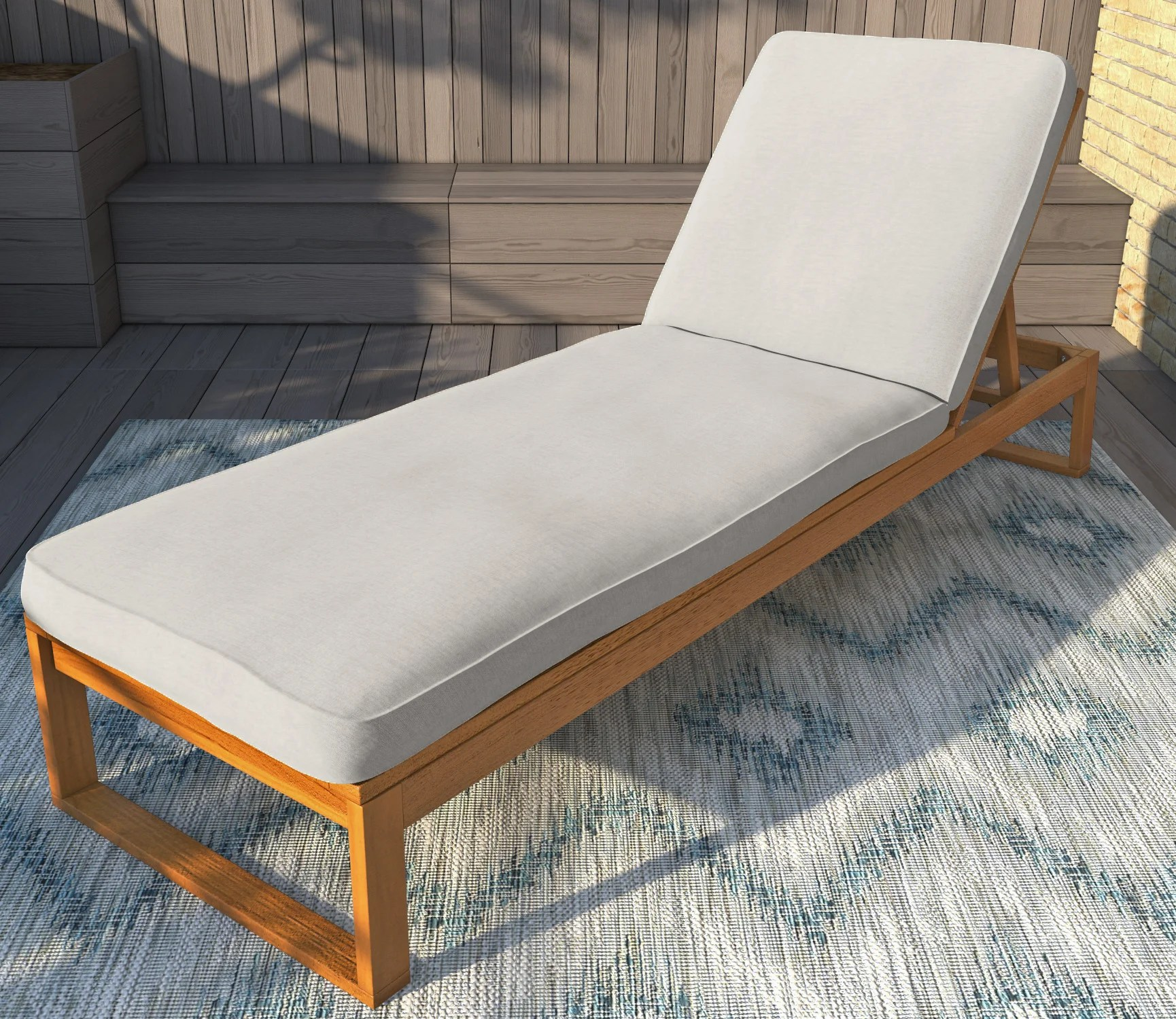 Chaise Cocktail Faunce Reclining Teak Chaise Lounge With Cushion