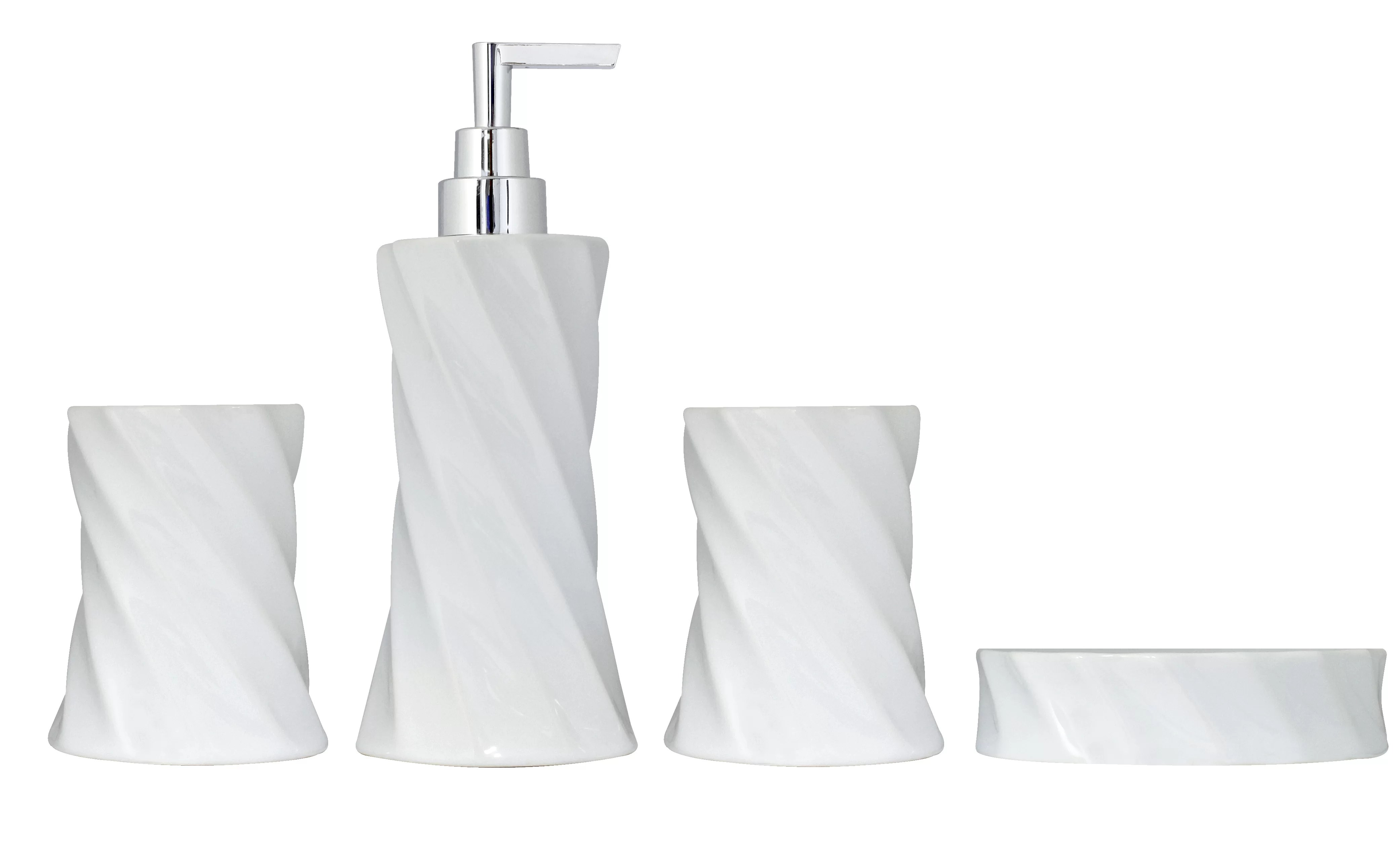 Bathroom Accessories 4 Piece Flora Series Bathroom Accessories Set