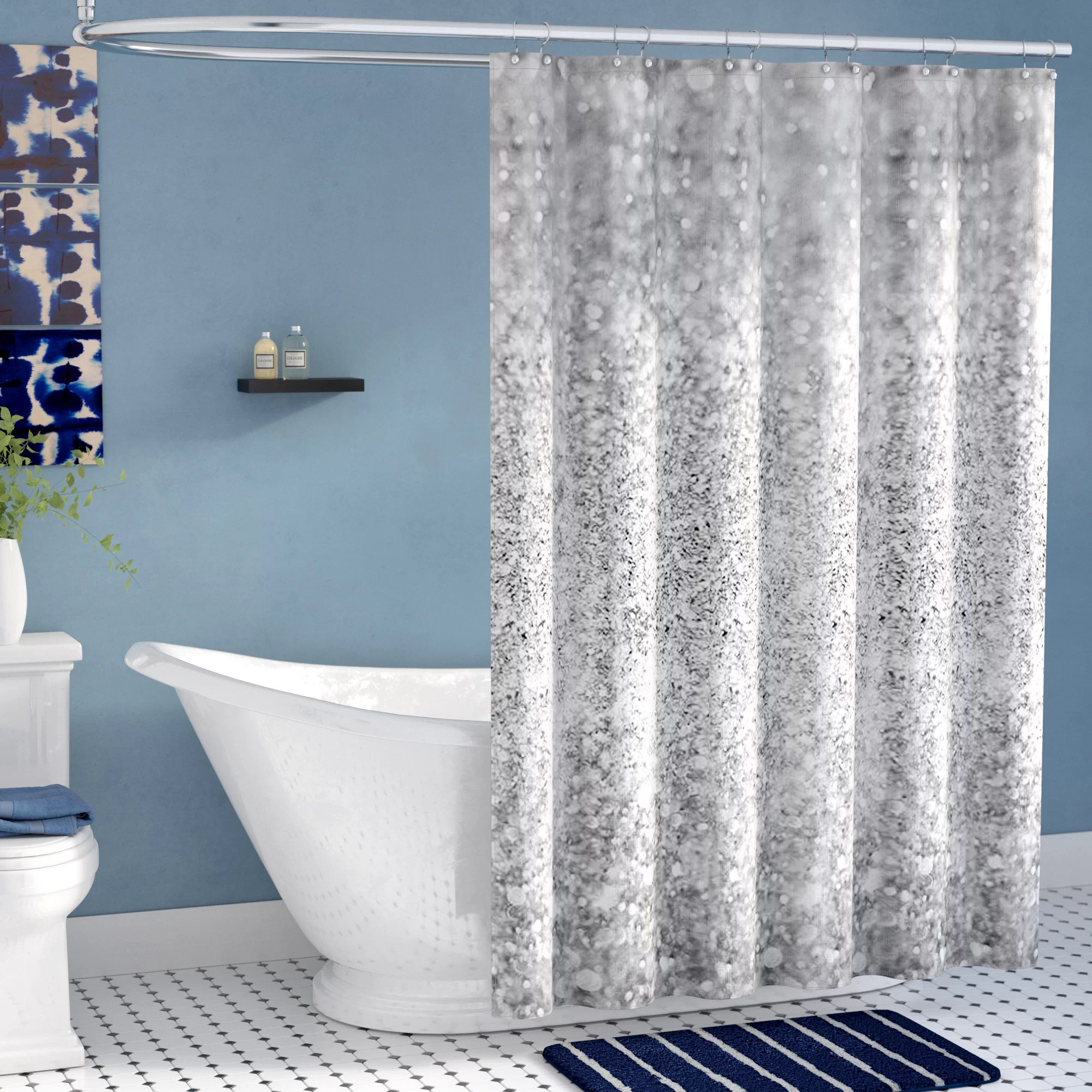 Cheap Stylish Curtains Shiny Glamour Luxury Single Shower Curtain