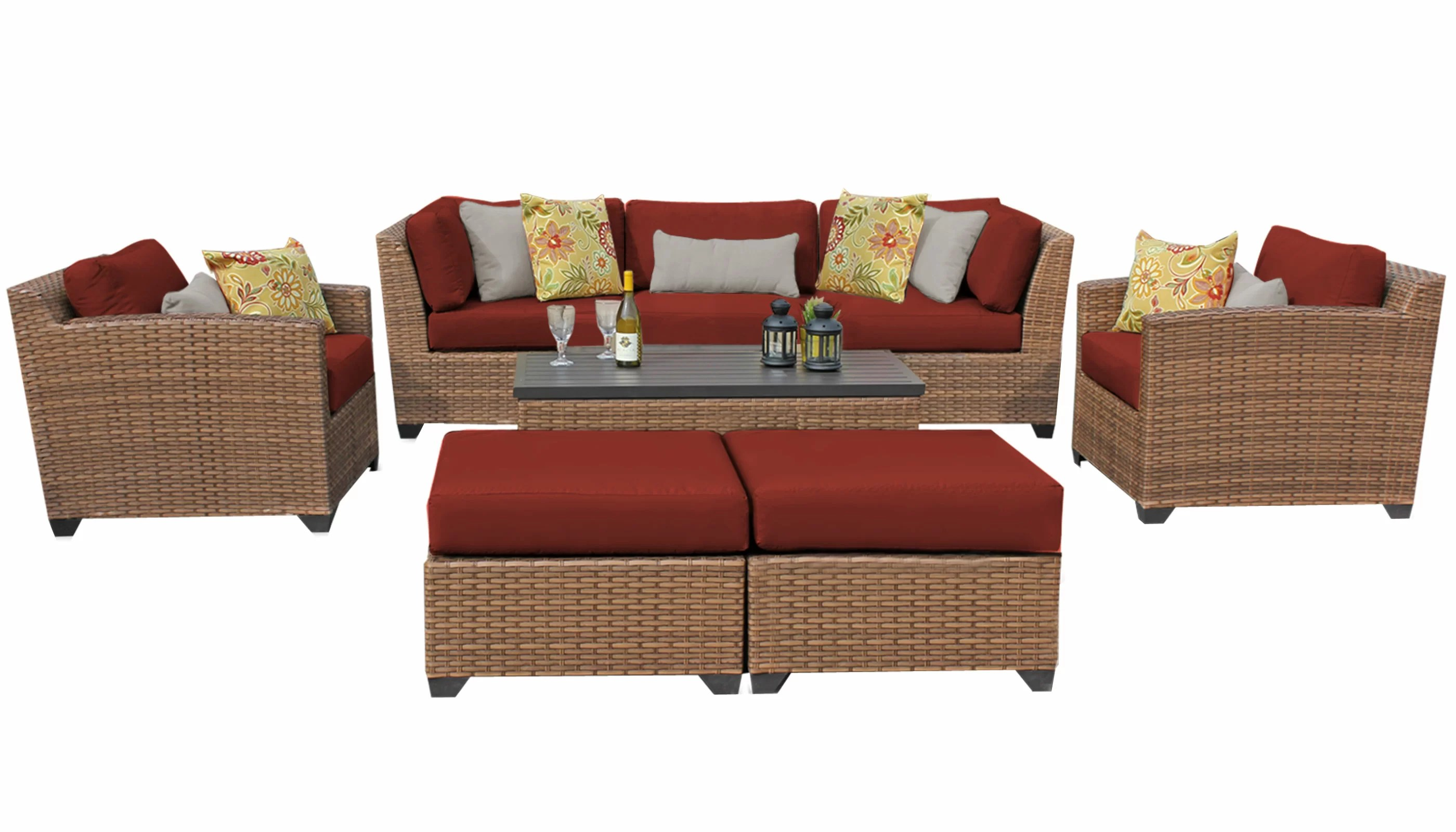Sofa Rattan Waterbury 8 Piece Rattan Sofa Seating Group With Cushions