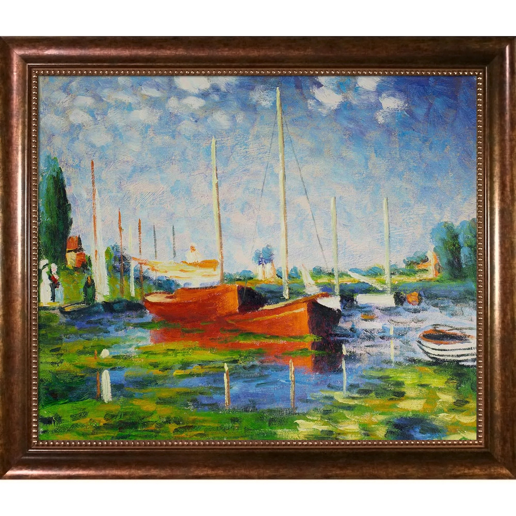 Photo Argenteuil Red Boats At Argenteuil By Claude Monet Framed Painting