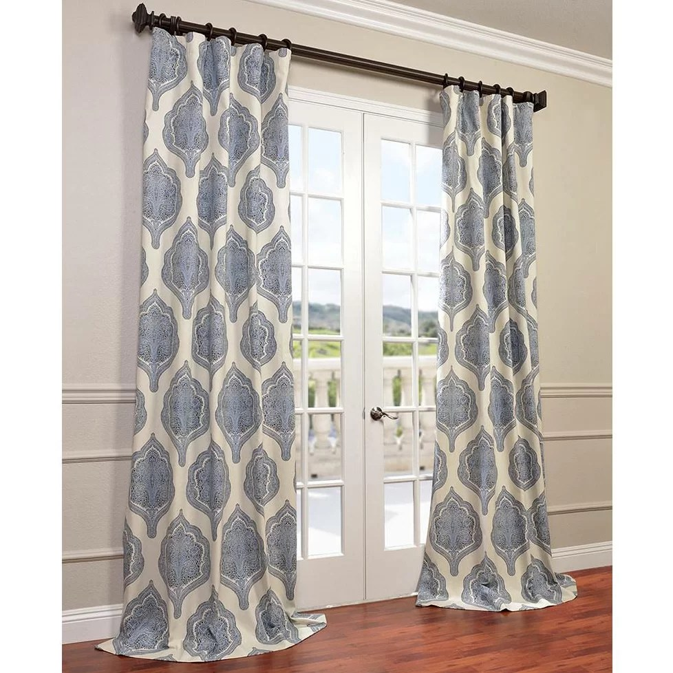 Cotton Curtain Panels Lunaire Printed Cotton Twill Damask Single Curtain Panel