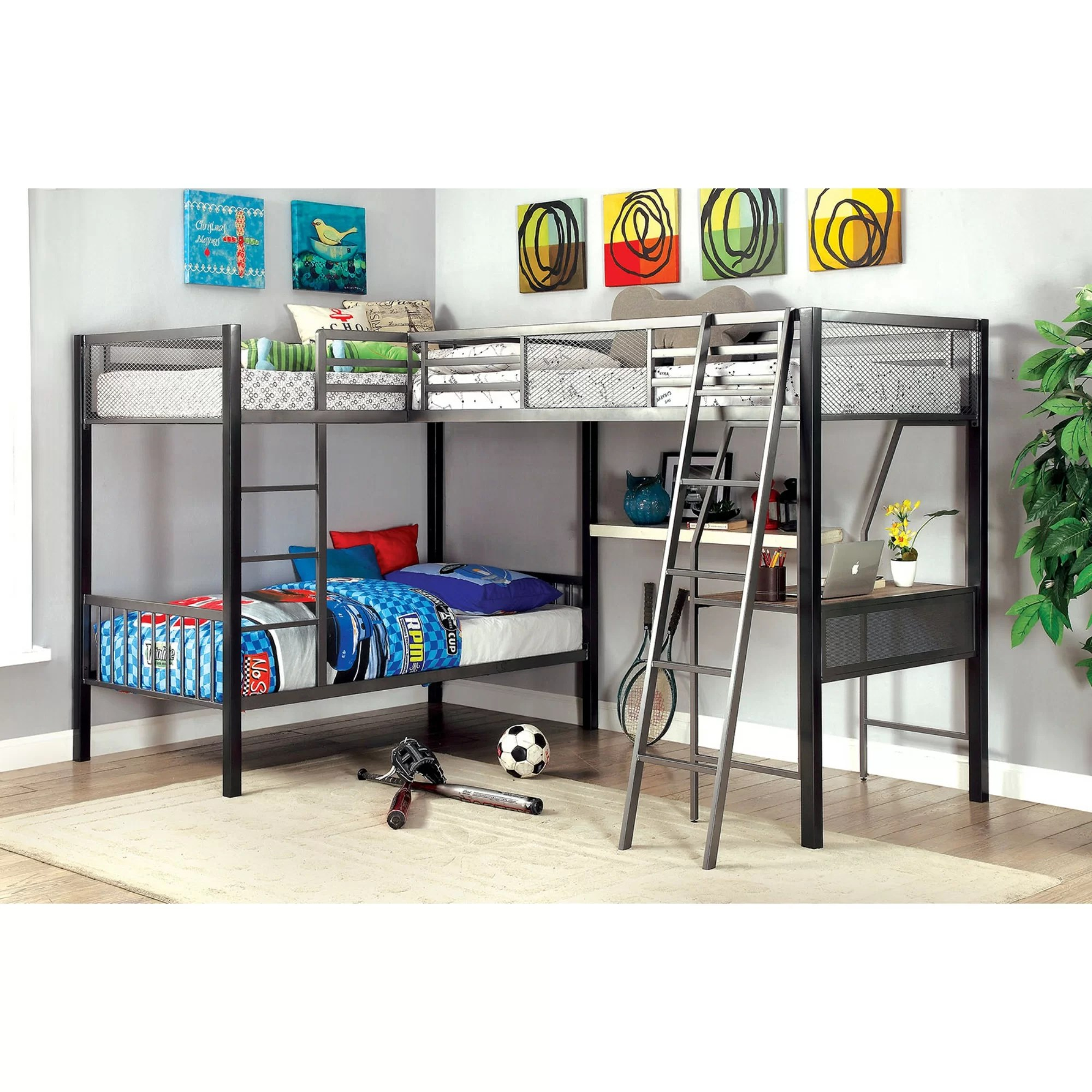 Bed With Desk Hank Twin Triple L Shaped Bunk Bed With Desk