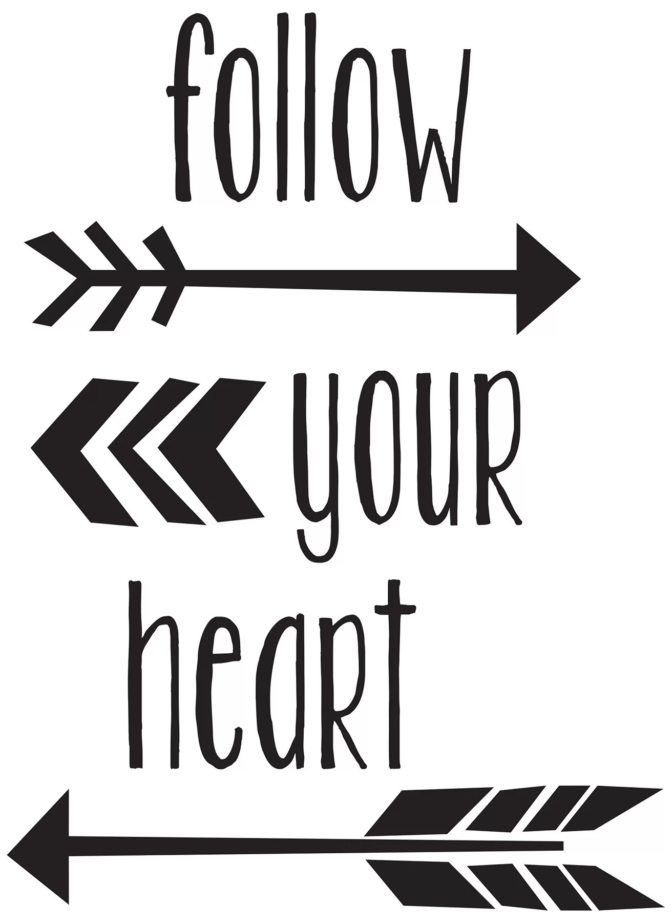 Follow Your Heart 6 Piece Follow Your Heart Quote Wall Decal Set