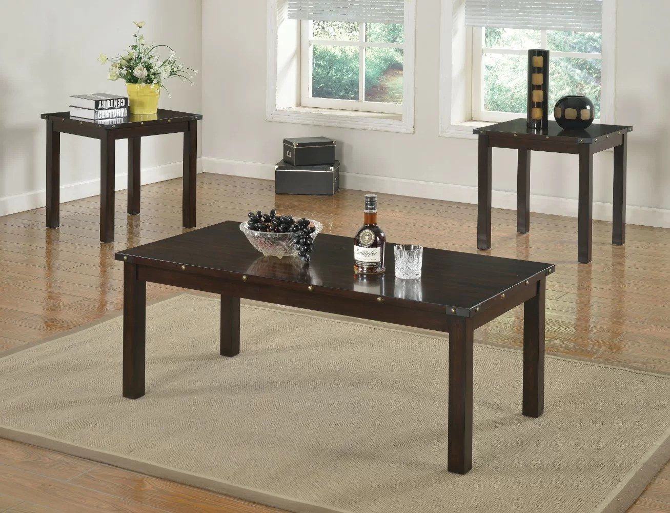 Retro Sofa Wood Mckinnie Retro Wooden 3 Piece Coffee Table Set