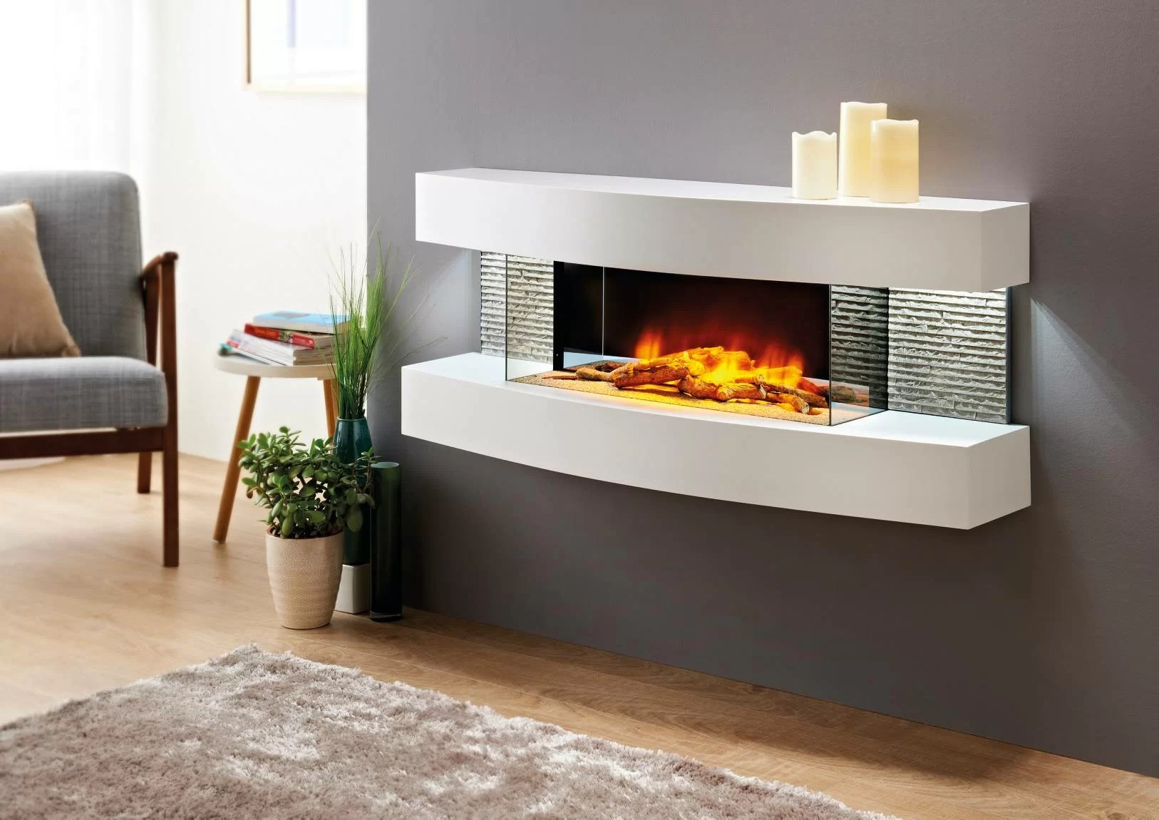 Artificial Fireplaces Fraenzel Curve Wall Mounted Electric Fireplace