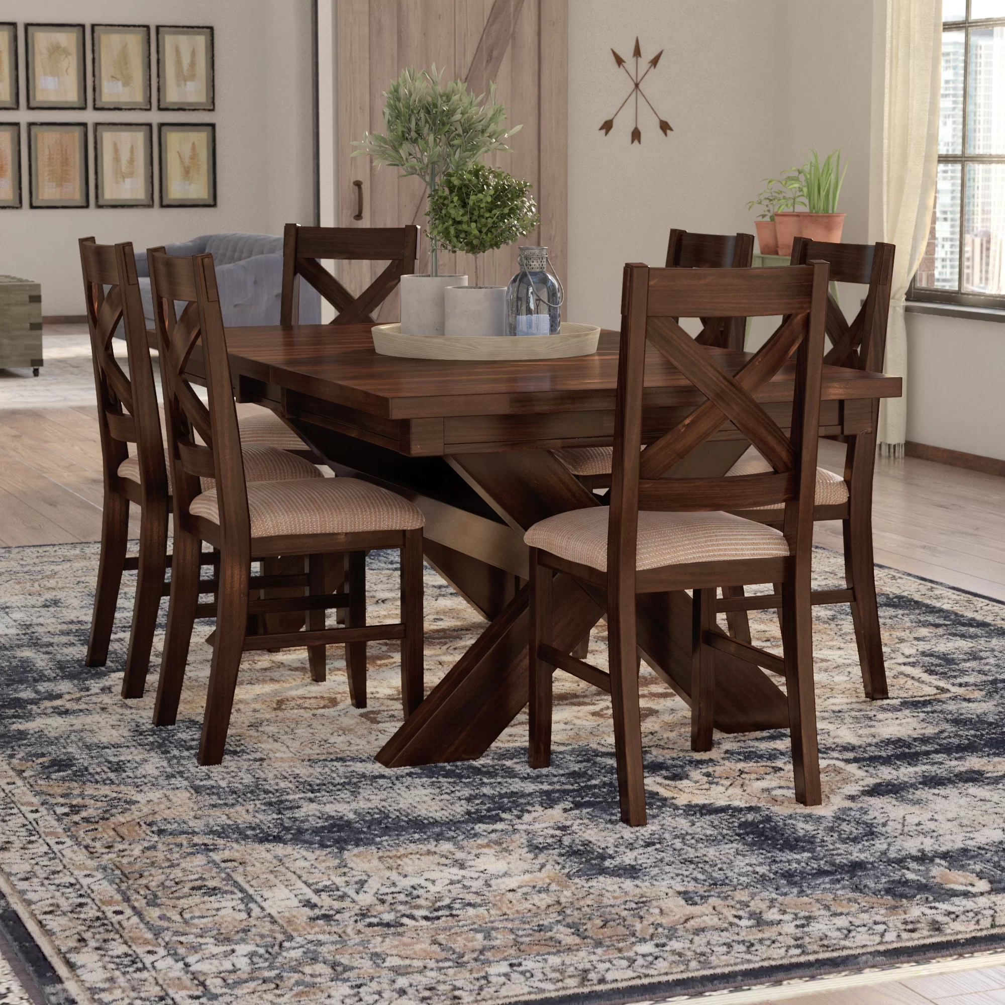 Modern Dining Set Isabell 7 Piece Solid Wood Dining Set