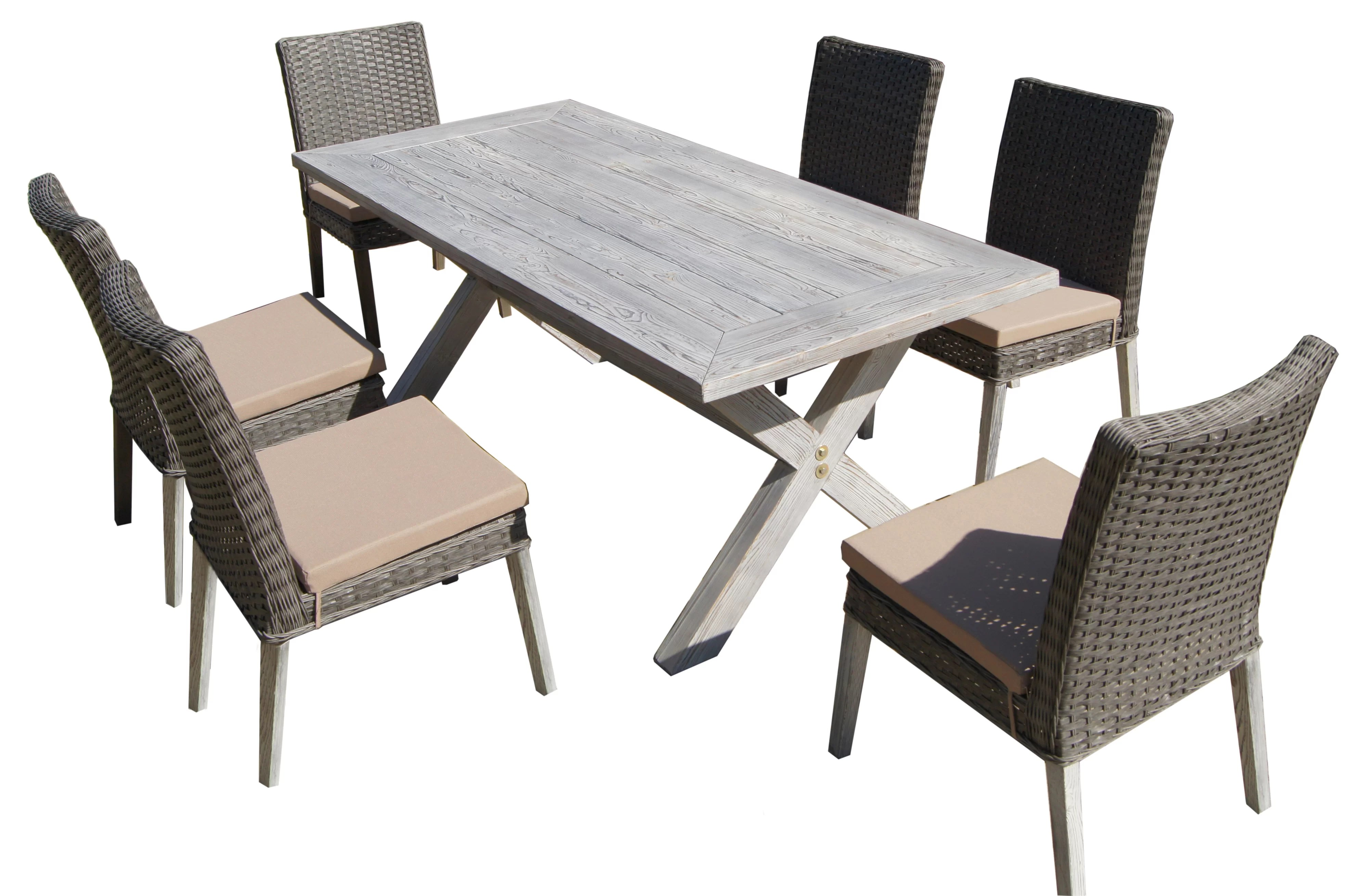 7 Piece Patio Set Hebron 7 Piece Dining Set With Cushion