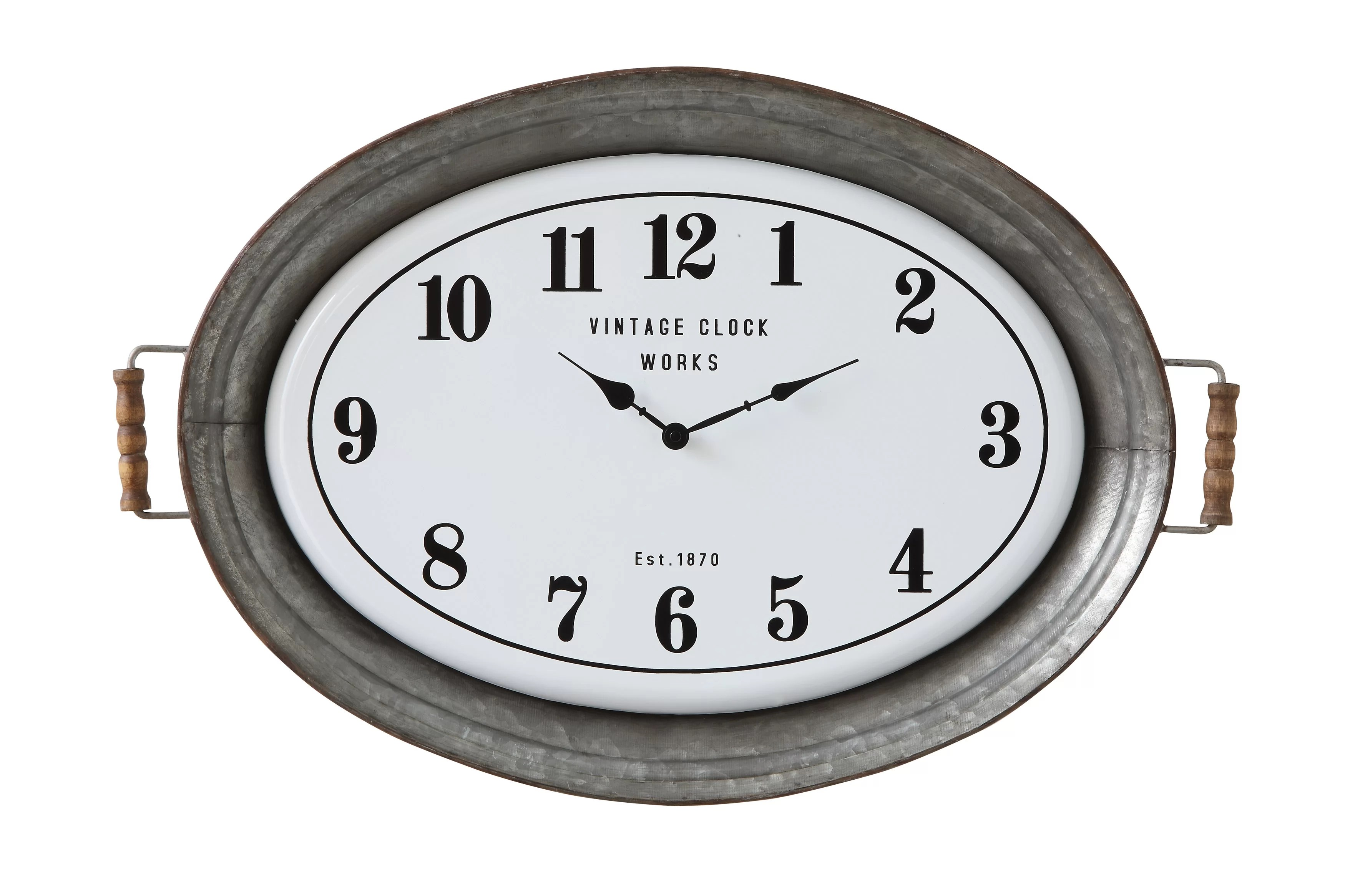 Oval Clock Face Stef Oval Metal Wall Clock With Serving Tray Design
