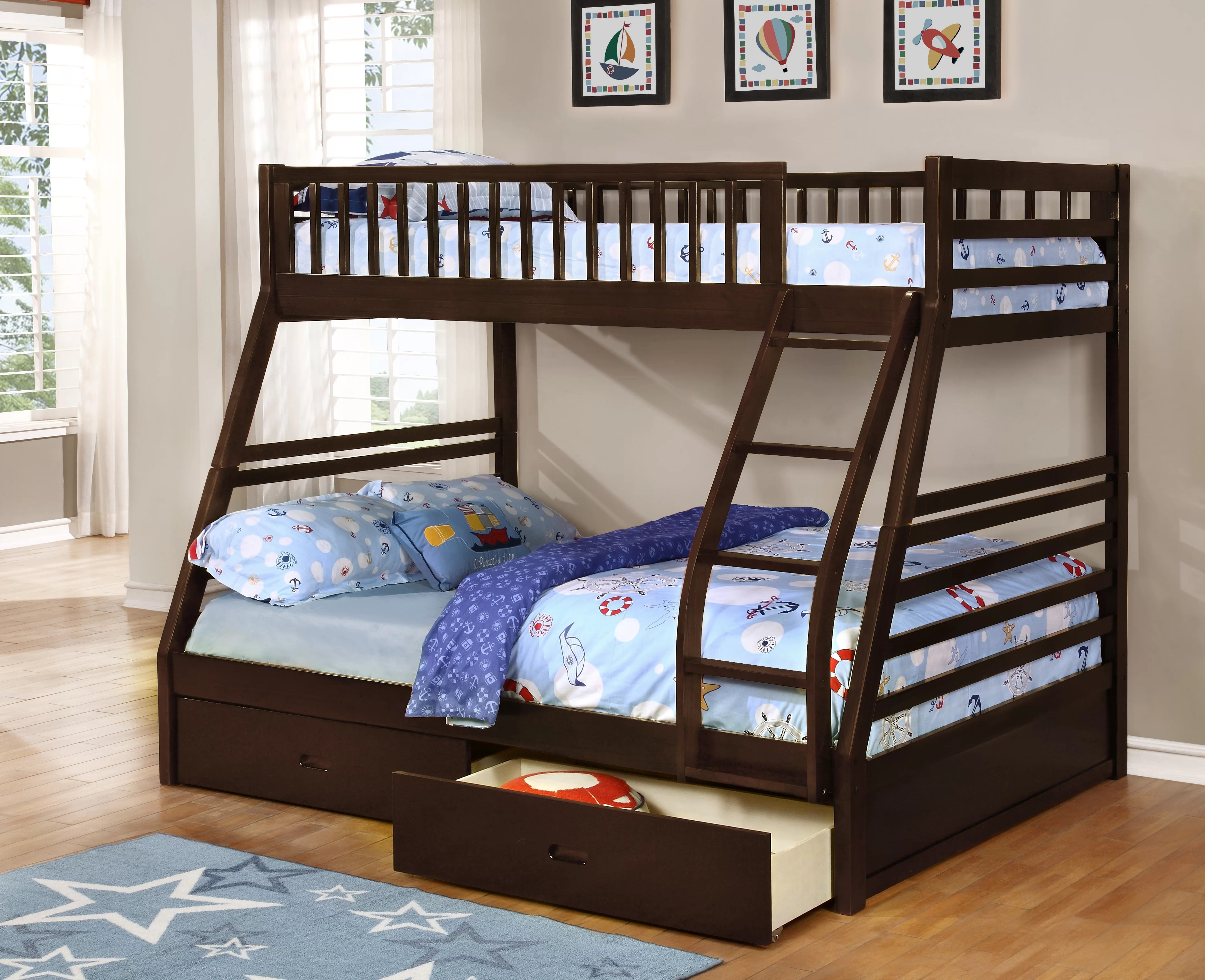 Snooze Bunk Beds Claret Twin Over Full Bunk Bed With Drawers