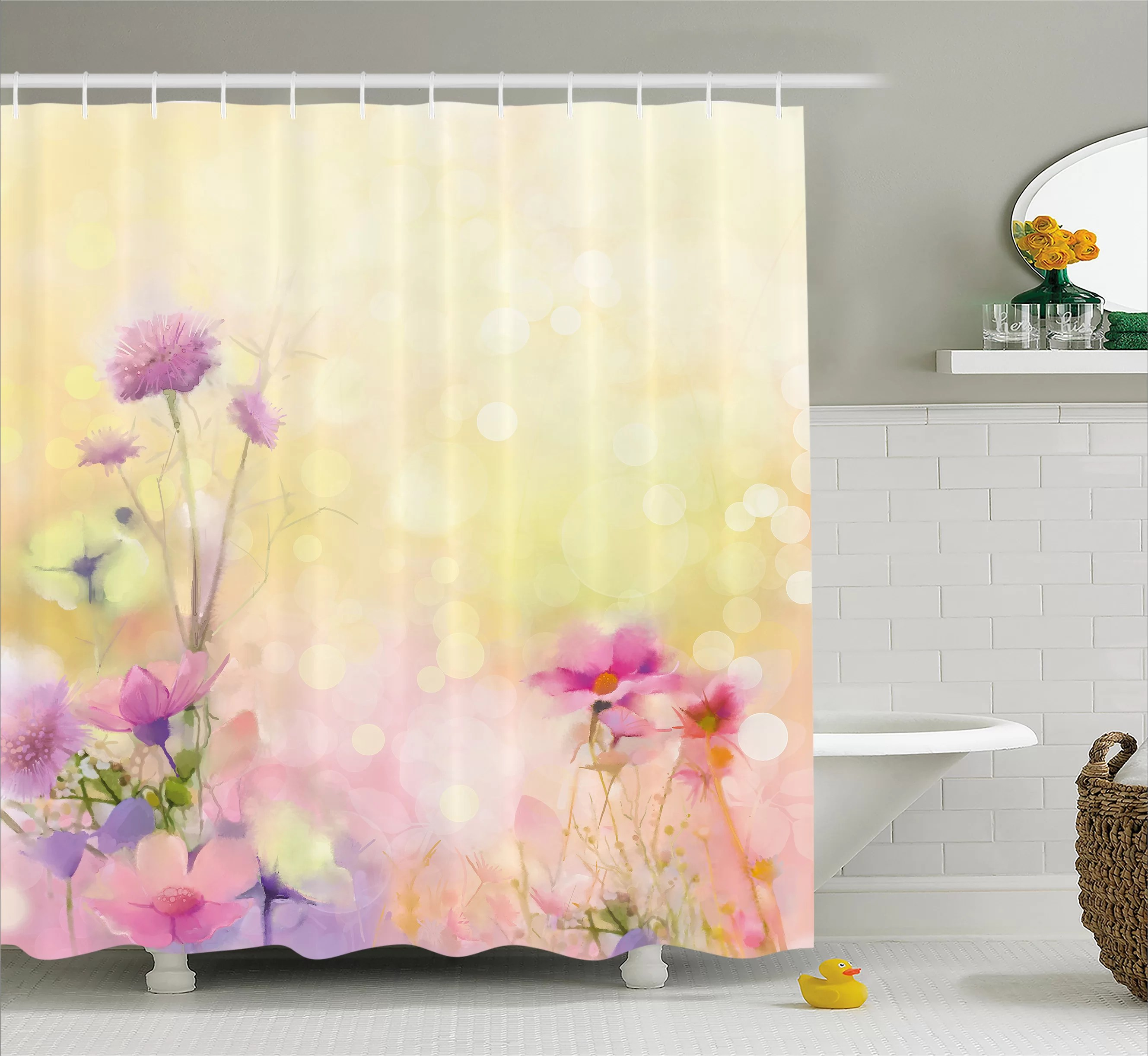 Ariel Shower Curtain Ariel Vintage Soft Feminine Magnolia Blooms Motif Whorls Art Single Shower Curtain