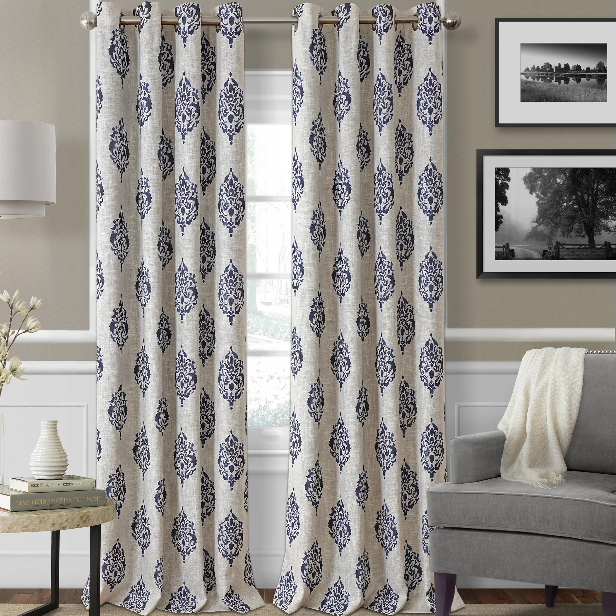 Grey Thermal Curtains Atticus Ikat Blackout Thermal Grommet Single Curtain Panel
