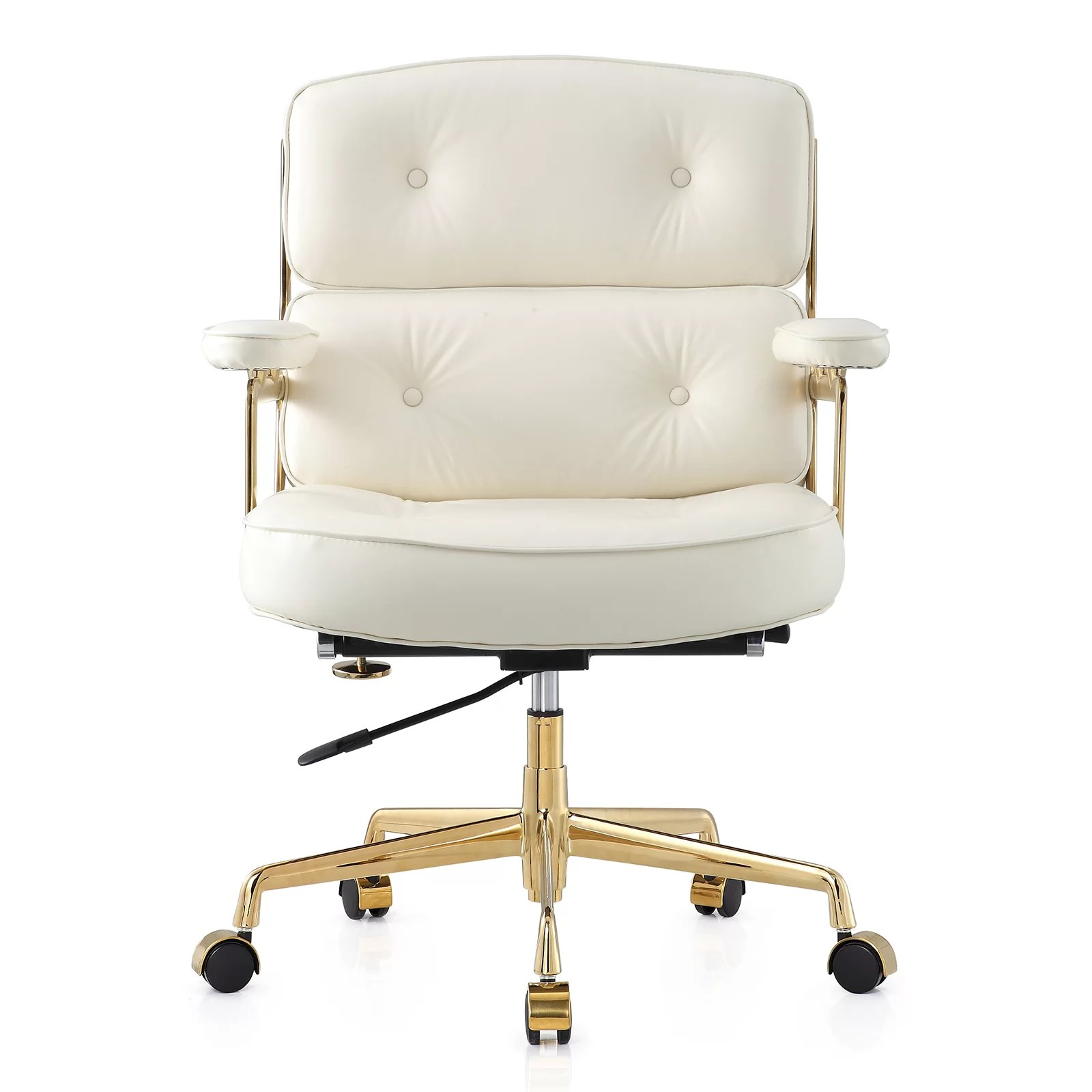 White And Gold Desk Chair 16 Quot Leather Office Chair With Lumbar Support And Reviews