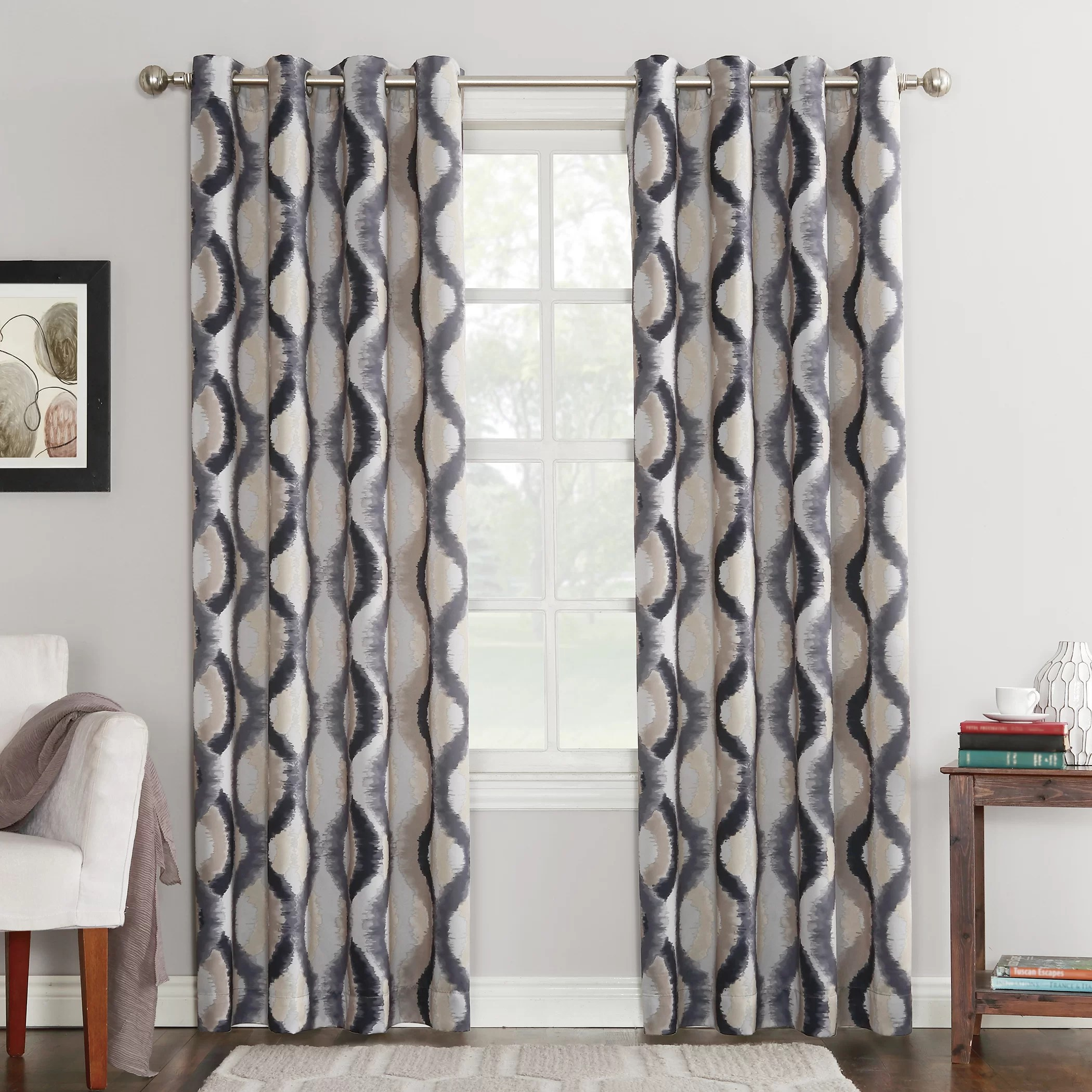 36 Inch Room Darkening Curtains Antigo Geometric Room Darkening Grommet Single Curtain Panel