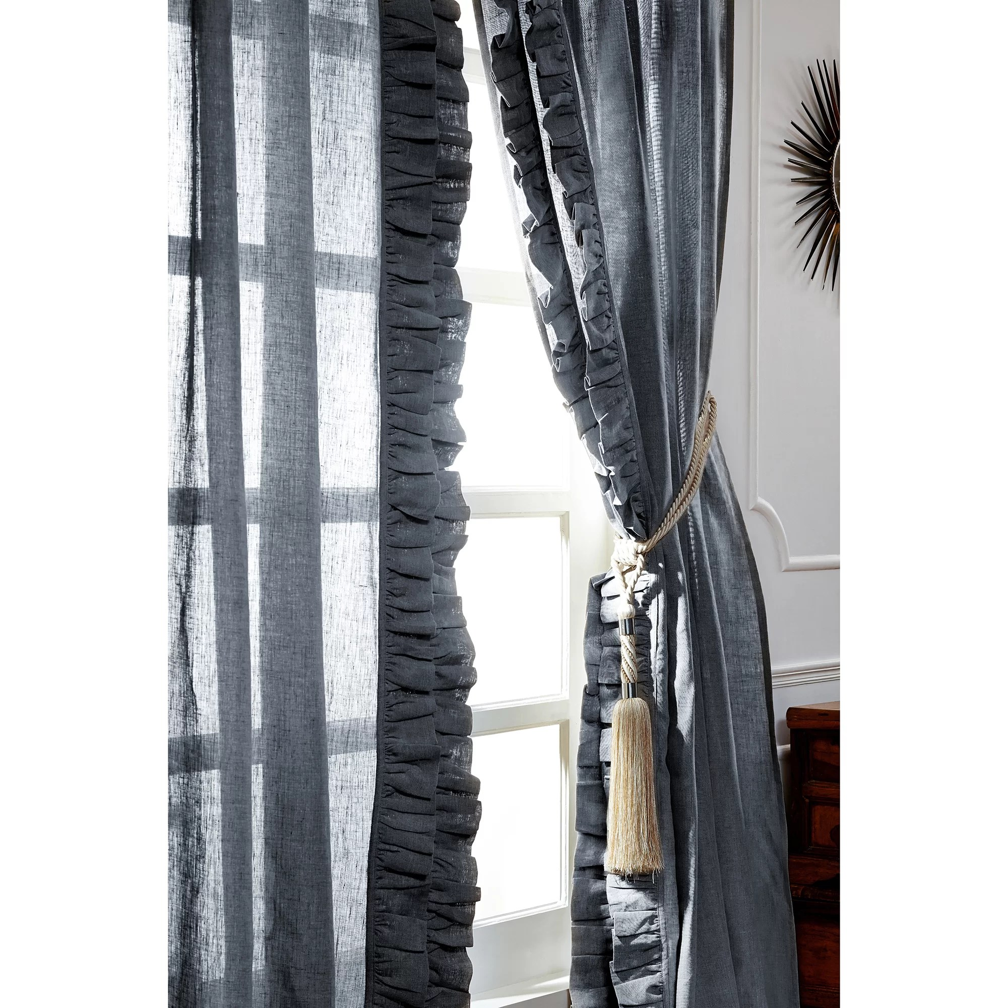 Ruffle Curtain Panel Ruffled Solid Semi Sheer Curtain Panel Pair