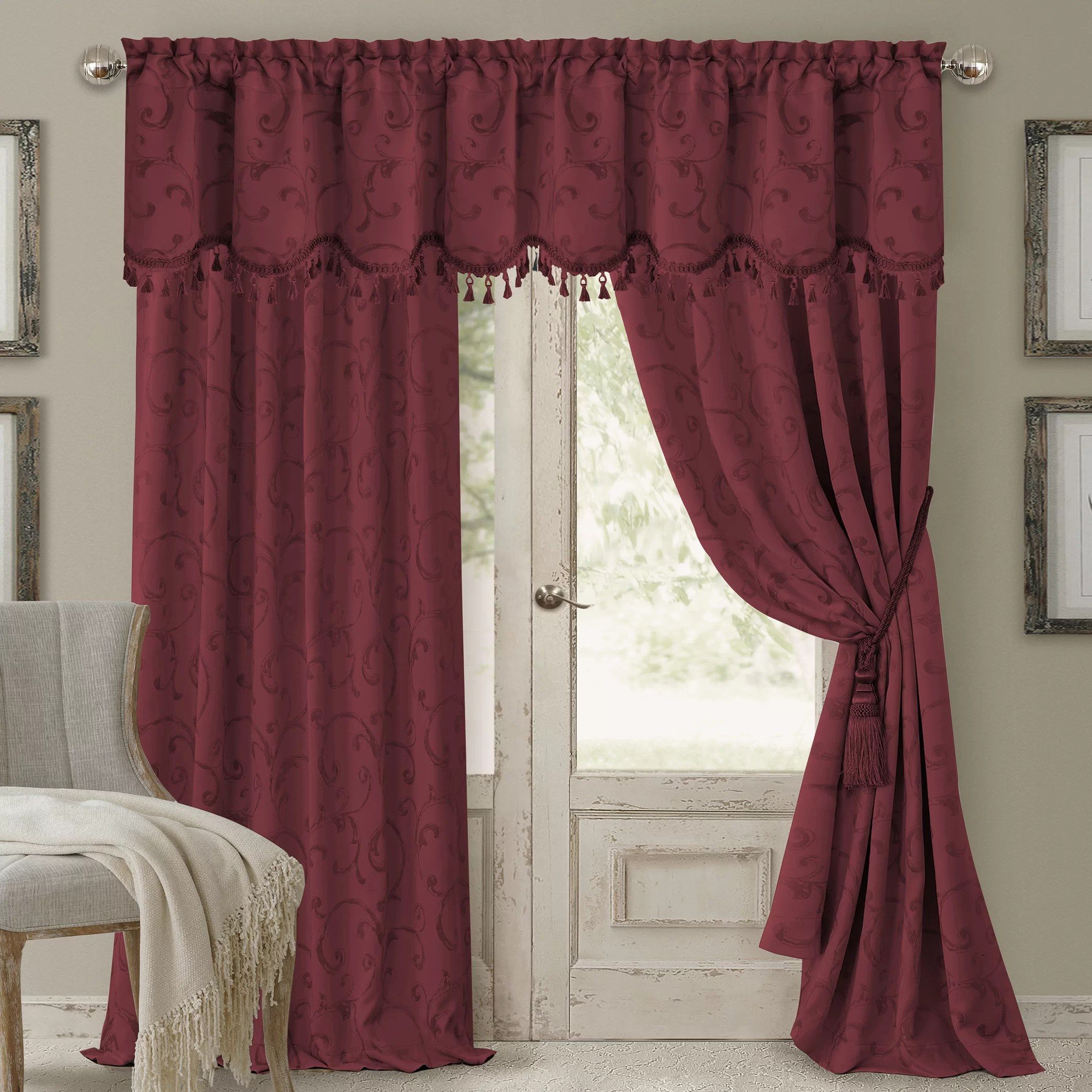 Dark Red Blackout Curtains Mia Jacquard Damask Blackout Rod Pocket Single Curtain Panel