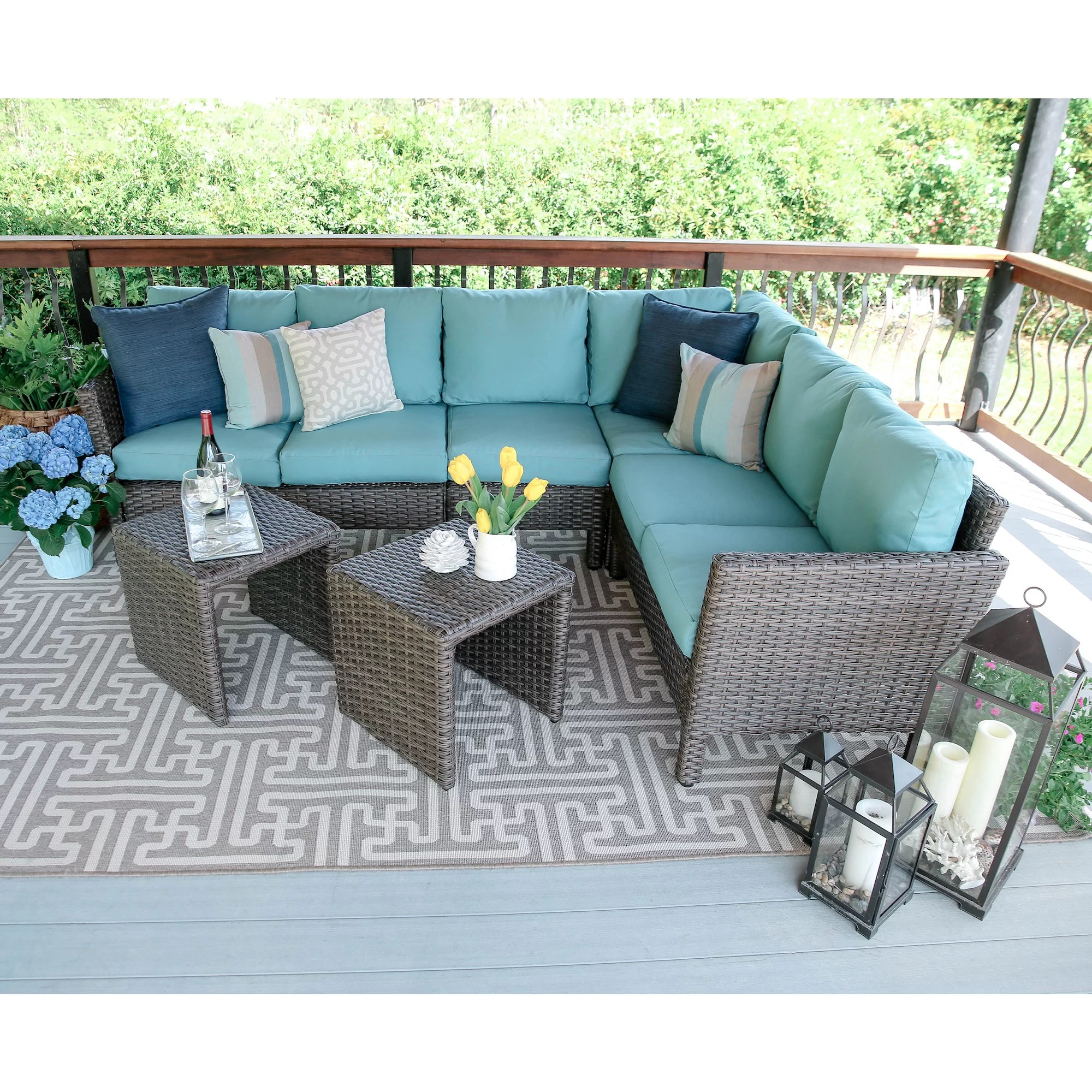 Baptist 6 Piece Rattan Sofa Set With Cushions Three Posts Daventry 6 Piece Sectional Set With Cushions
