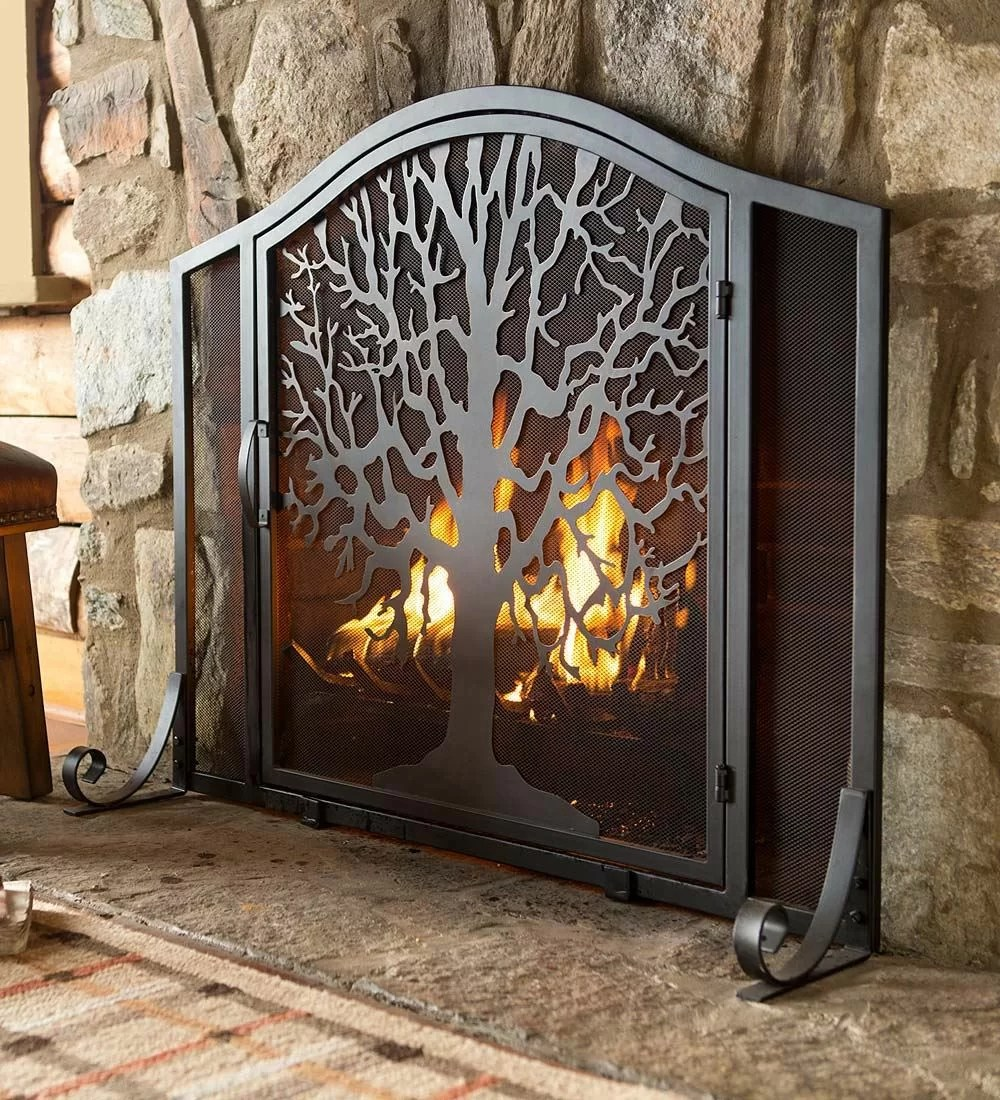 Fireplace Safety Screen Child Guard Tree Of Life Single Panel Iron Fireplace Screen