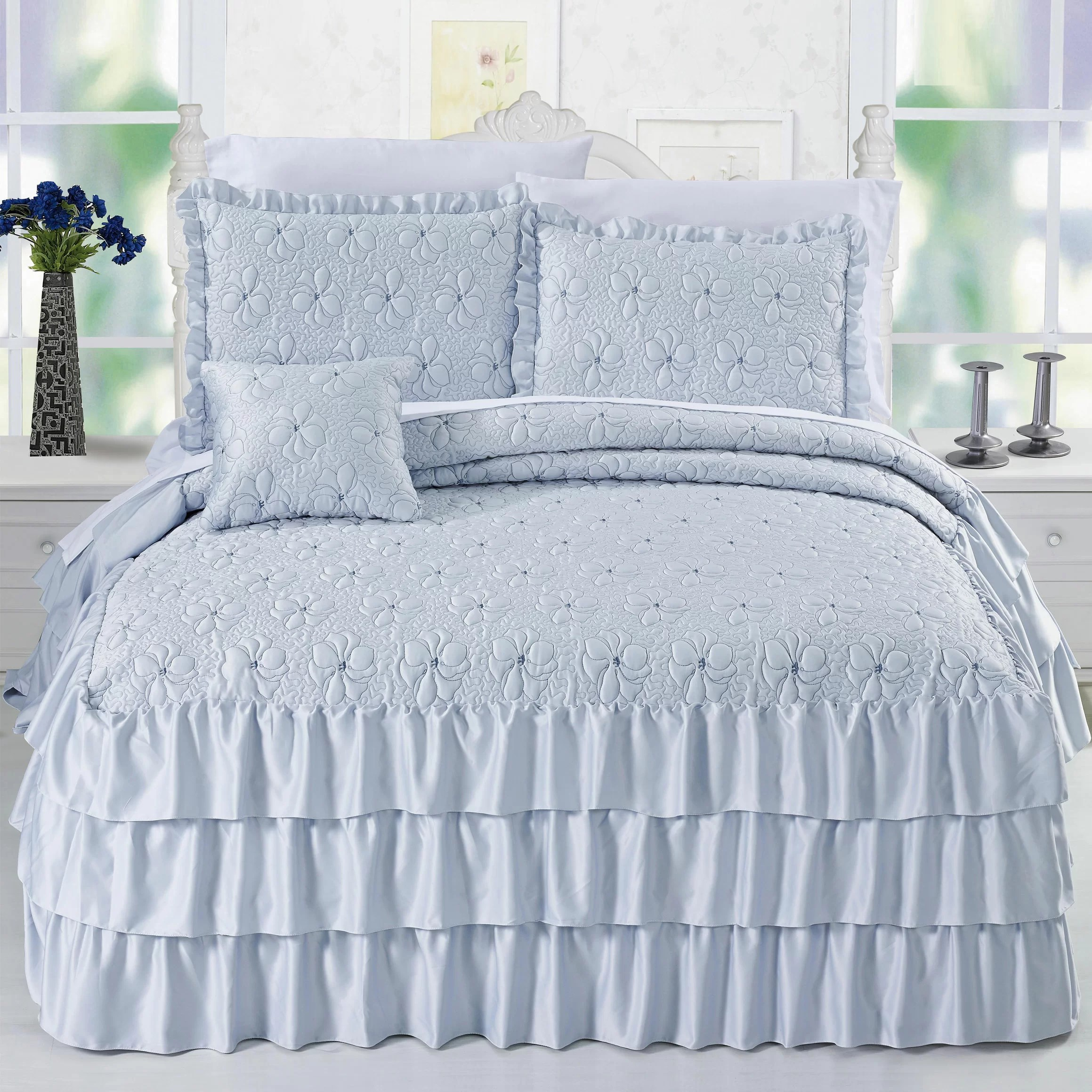 Satin Duvet Cover Reinhart Ruffle Matte Satin 4 Piece Coverlet Set