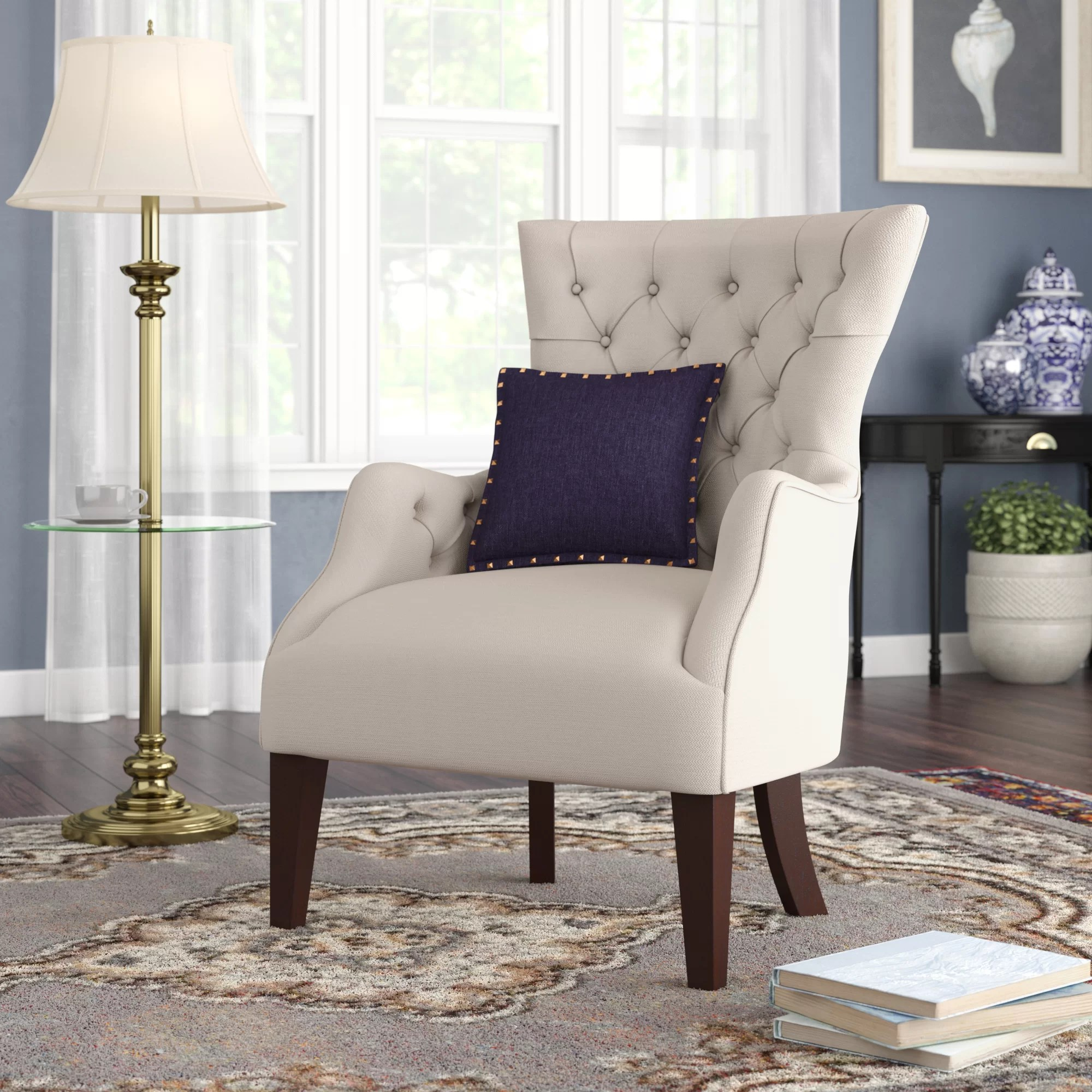 Big Sofa Island Greige Steelton Button Tufted Wingback Chair