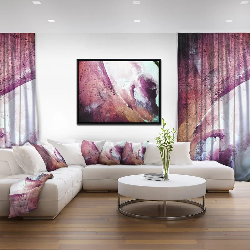 East Urban Home White and Purple Texture\u0027 Framed Oil Painting Print