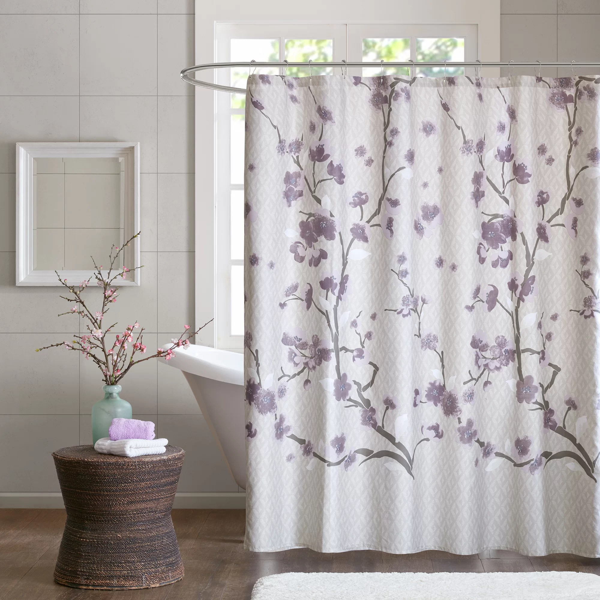 Lavender Shower Curtains Buchanan Cotton Single Shower Curtain