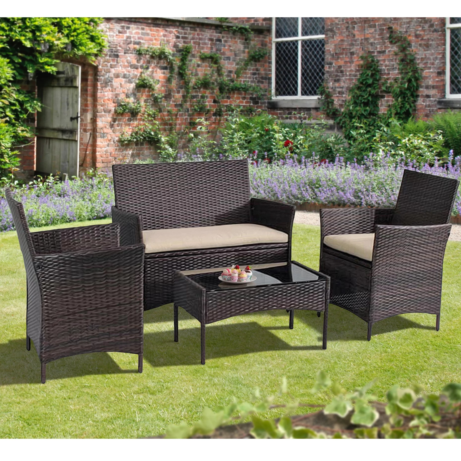 Rattan Sofa Ackman 4 Piece Rattan Sofa Seating Group