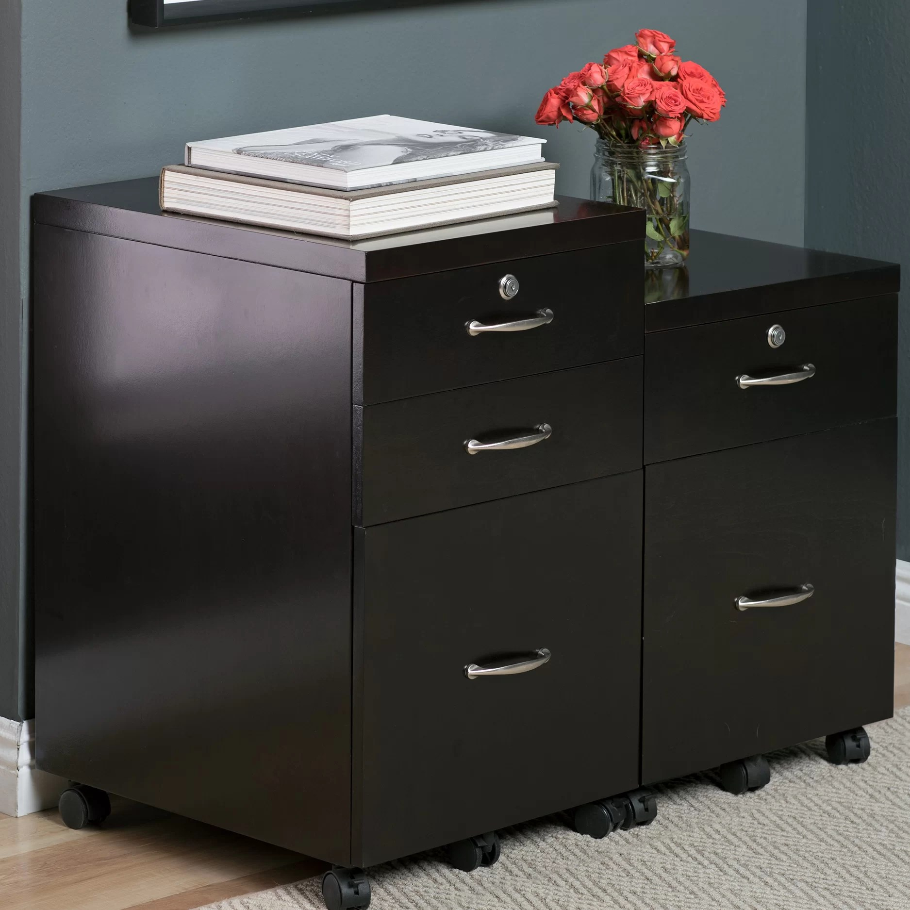 Solid Wood File Cabinet Newel 3 Drawer Mobile Vertical Filing Cabinet