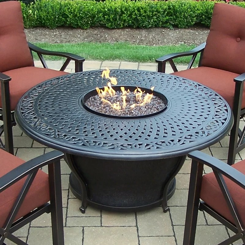 Oakland Living Charleston Aluminum Gas Fire Pit Table And