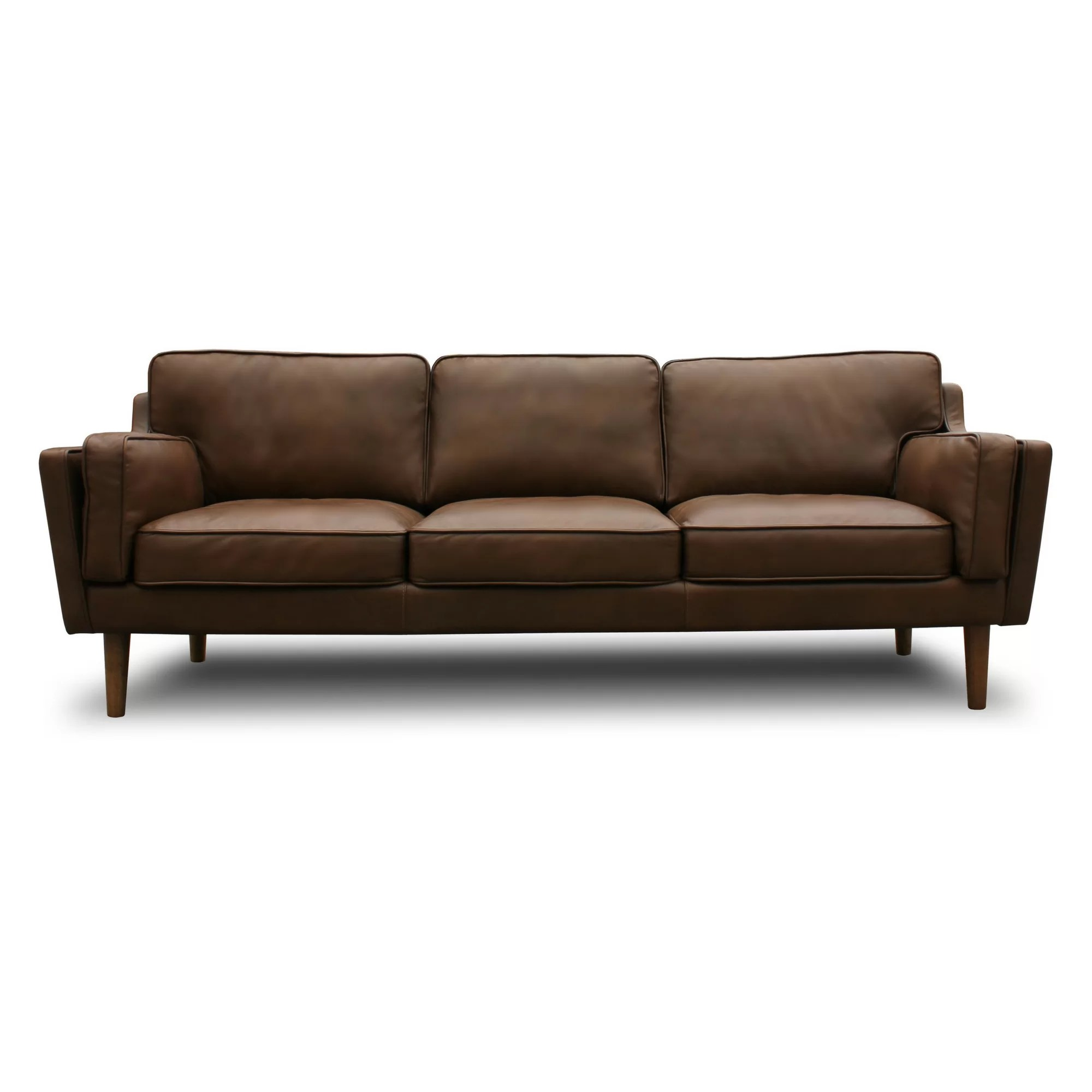 Modern Couch Warren Mid Century Modern Leather Sofa
