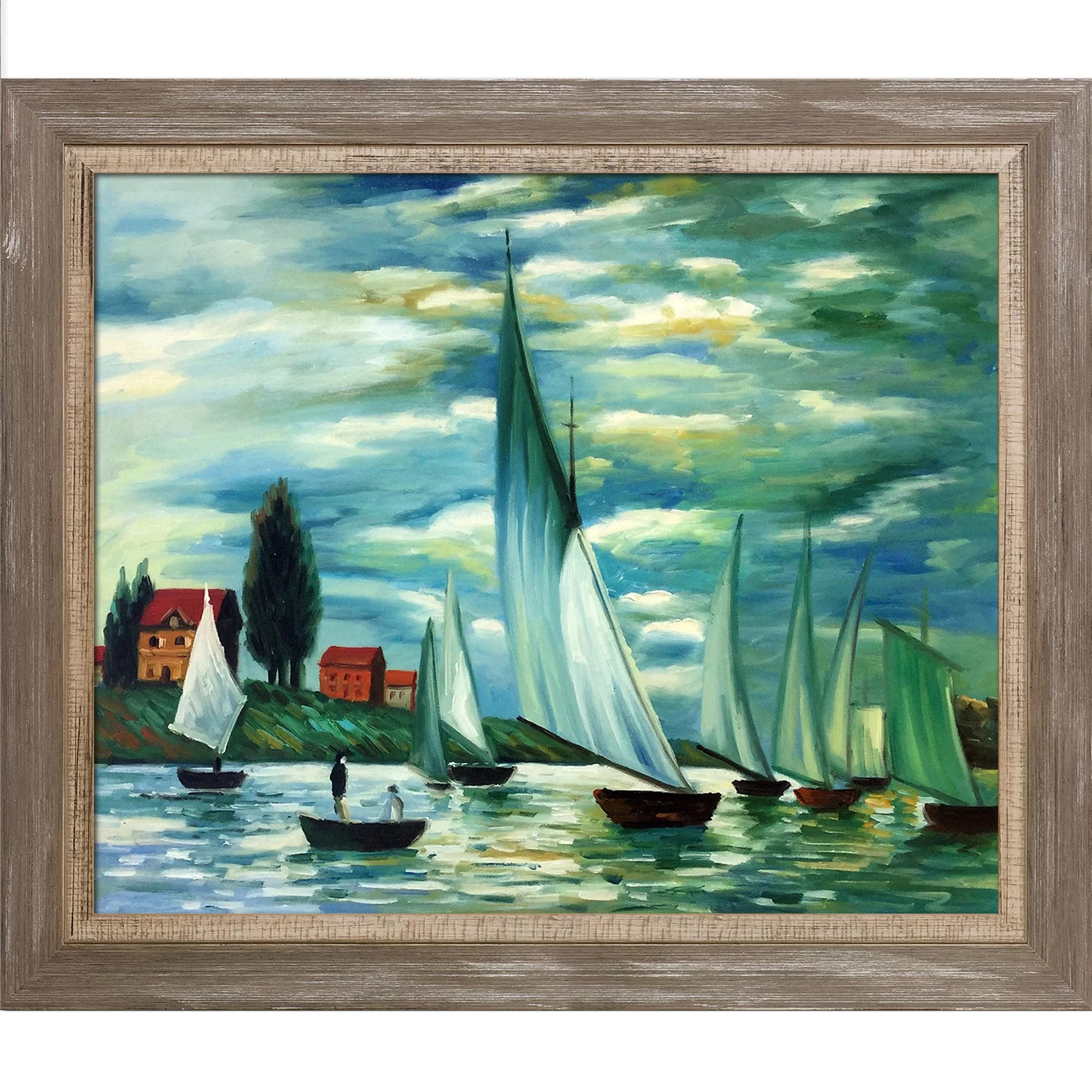 Photo Argenteuil Regates At Argenteuil By Claude Monet Framed Painting