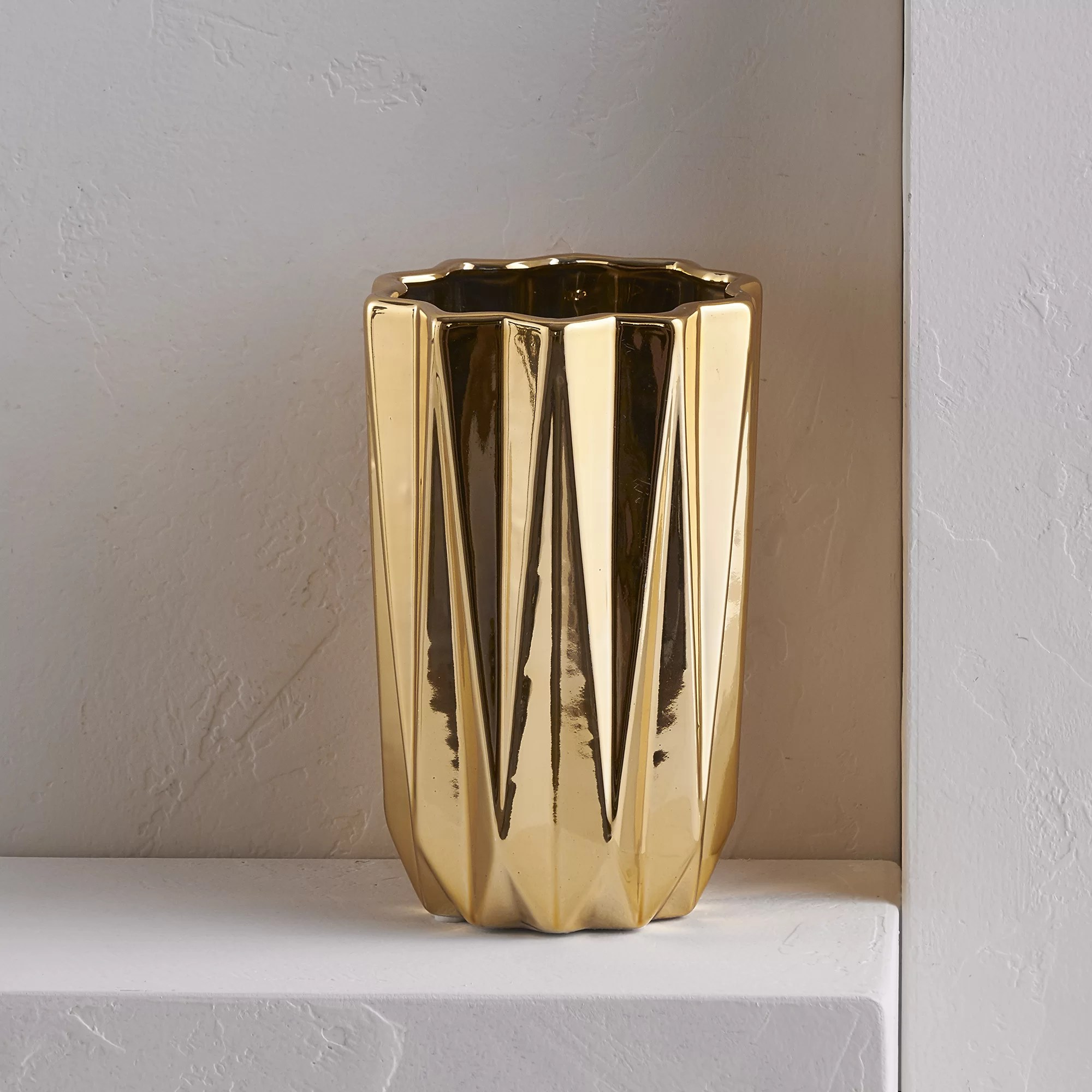Vase Gold Gold Cylinder Table Vase