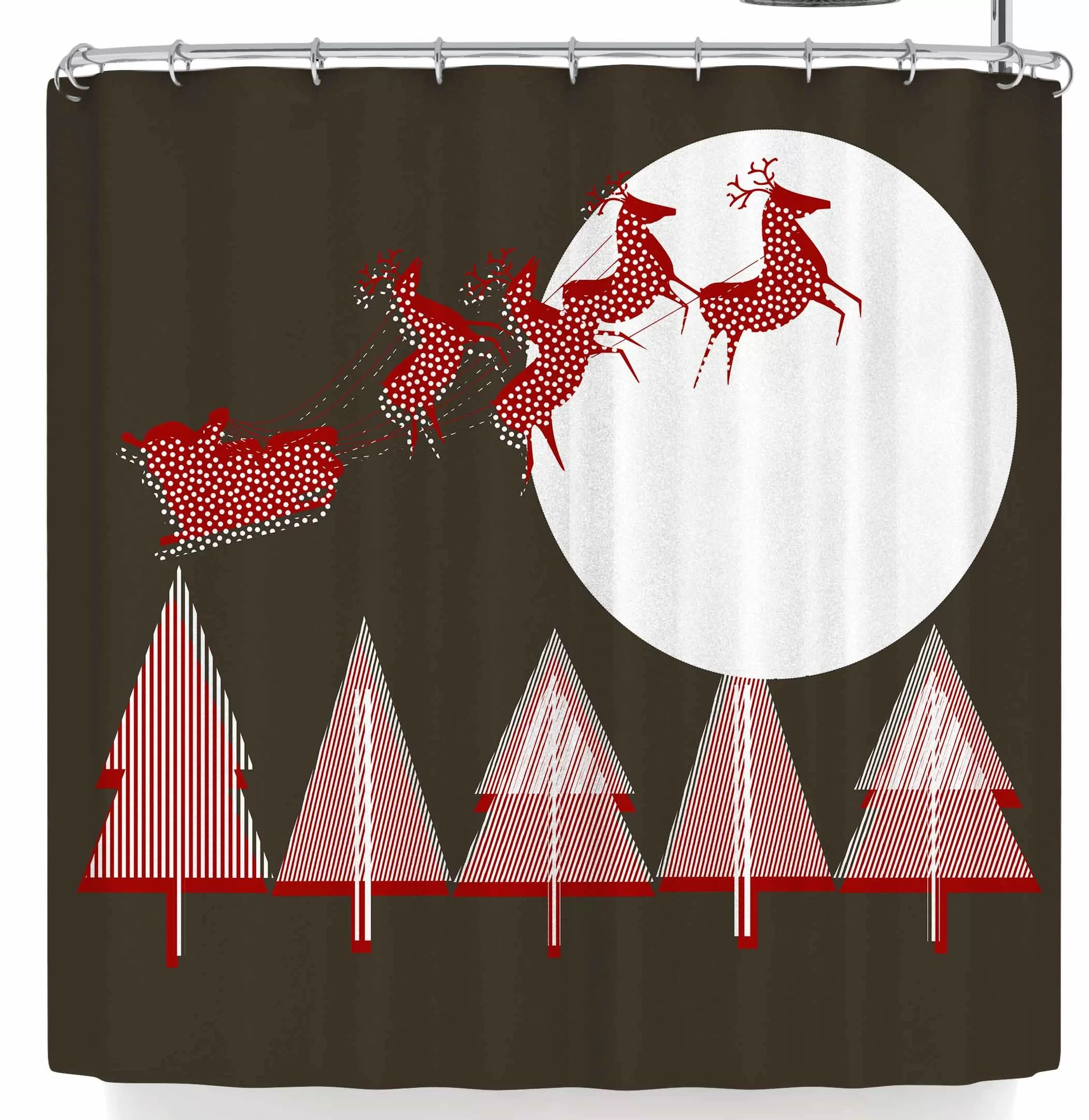 Red And Brown Shower Curtain Bruxamagica Santa Flying Brown Shower Curtain