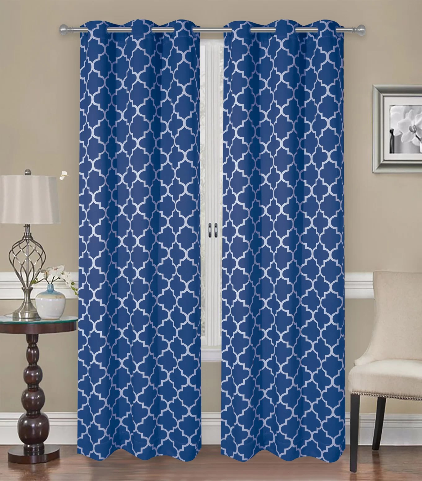 Heavy Thermal Curtains Elverson Heavy Double Layered Lattice Blackout Thermal Grommet Curtain Panels