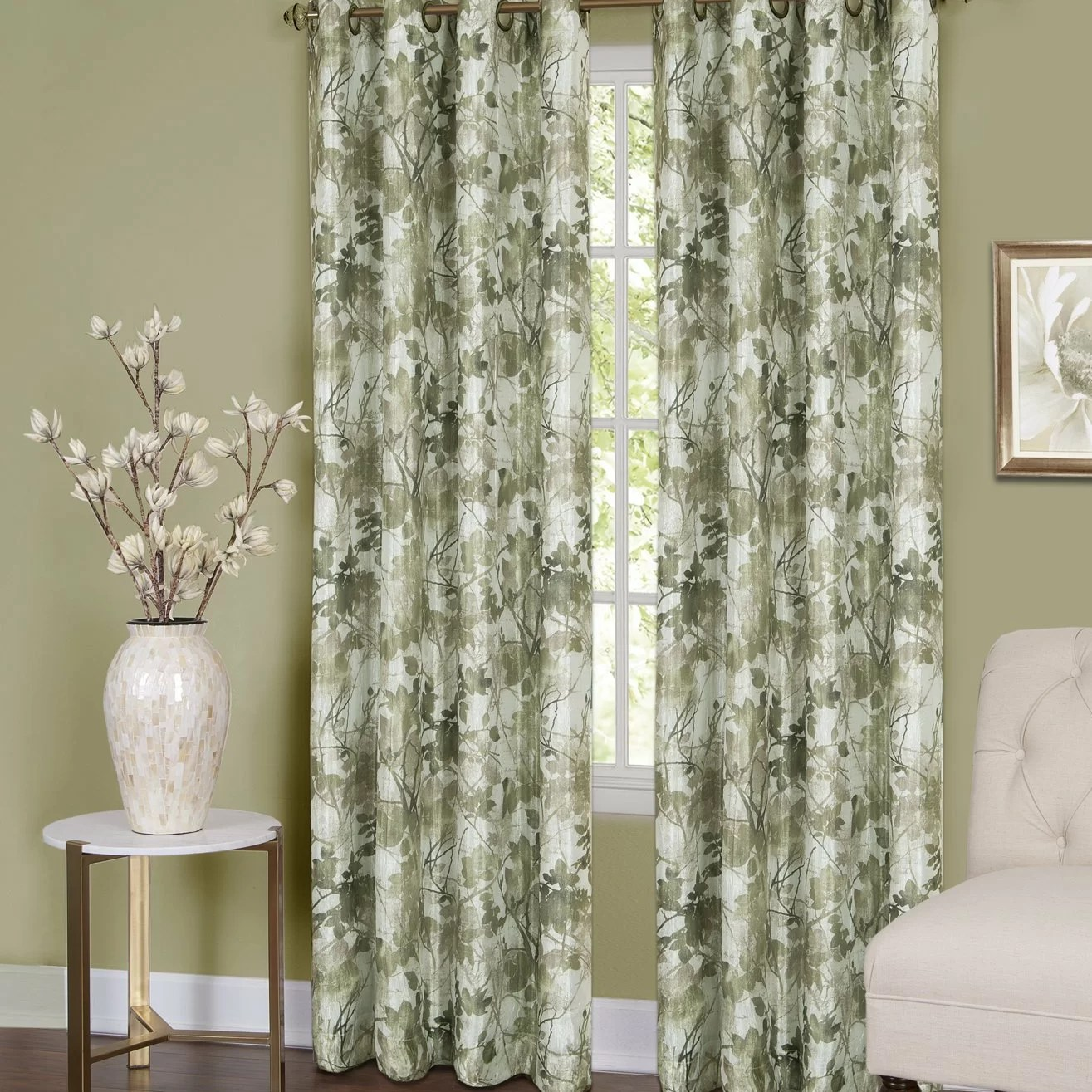 Traditional Curtains August Grove Castlewood Traditional Elegance Nature Floral Blackout Grommet Single Curtain Panel Wayfair