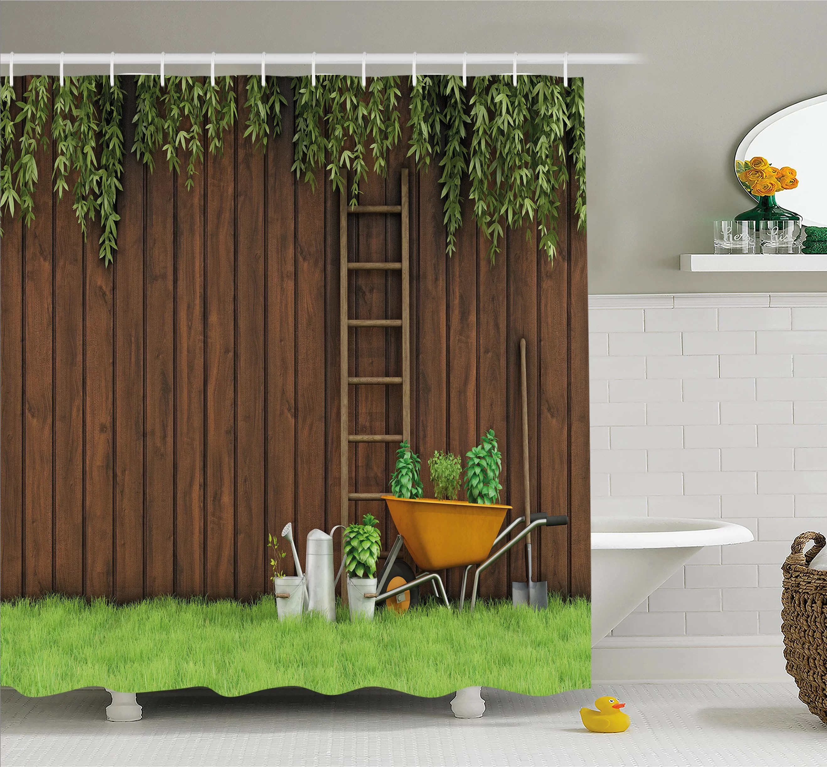Backyard Shower Farm House Gardening Material Tools On The Backyard With Shovel And Bucket Print Shower Curtain Set