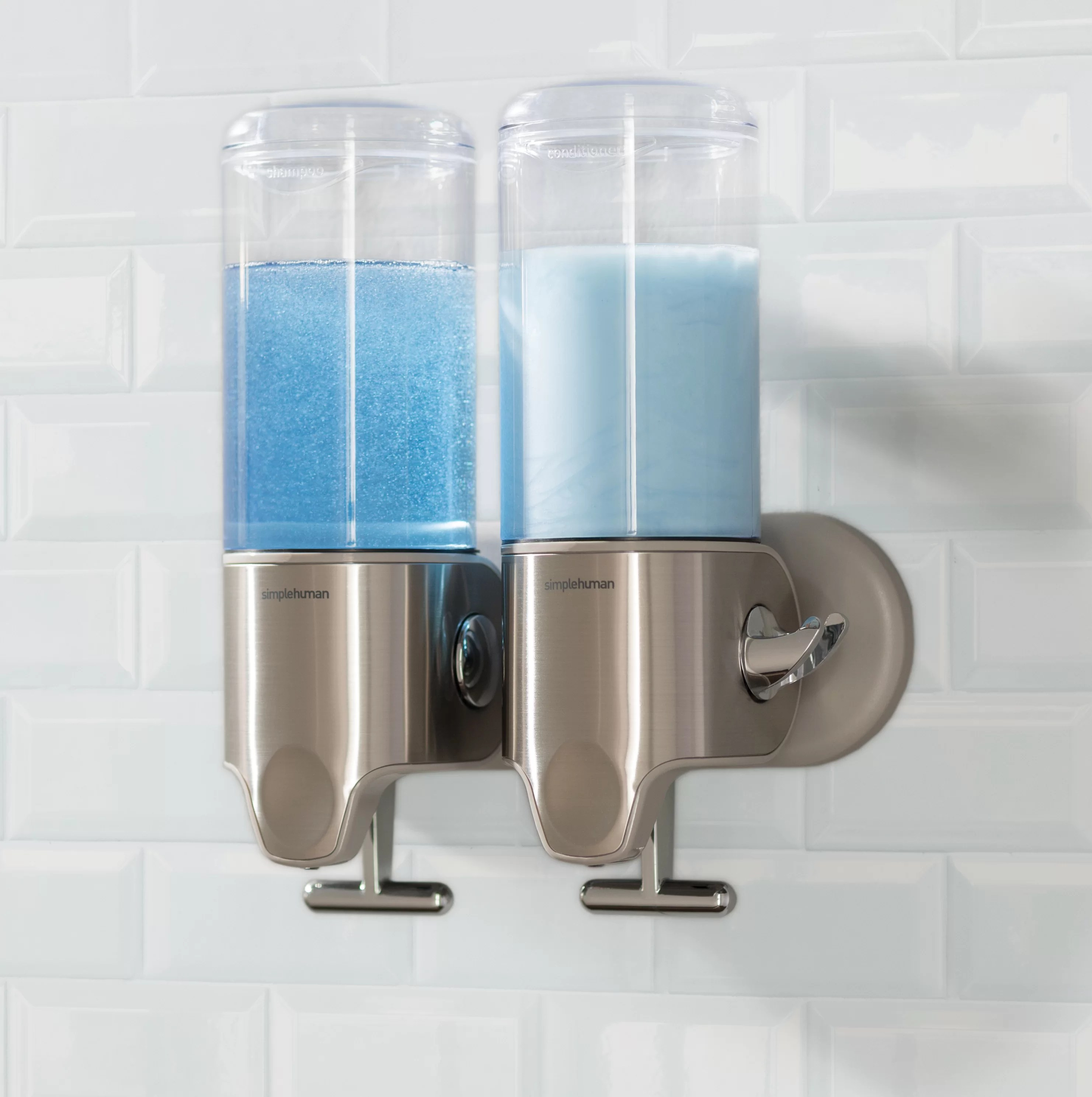 Soap And Shampoo Dispenser Twin Wall Mount Soap Pumps 15 Fl Oz Each Stainless Steel