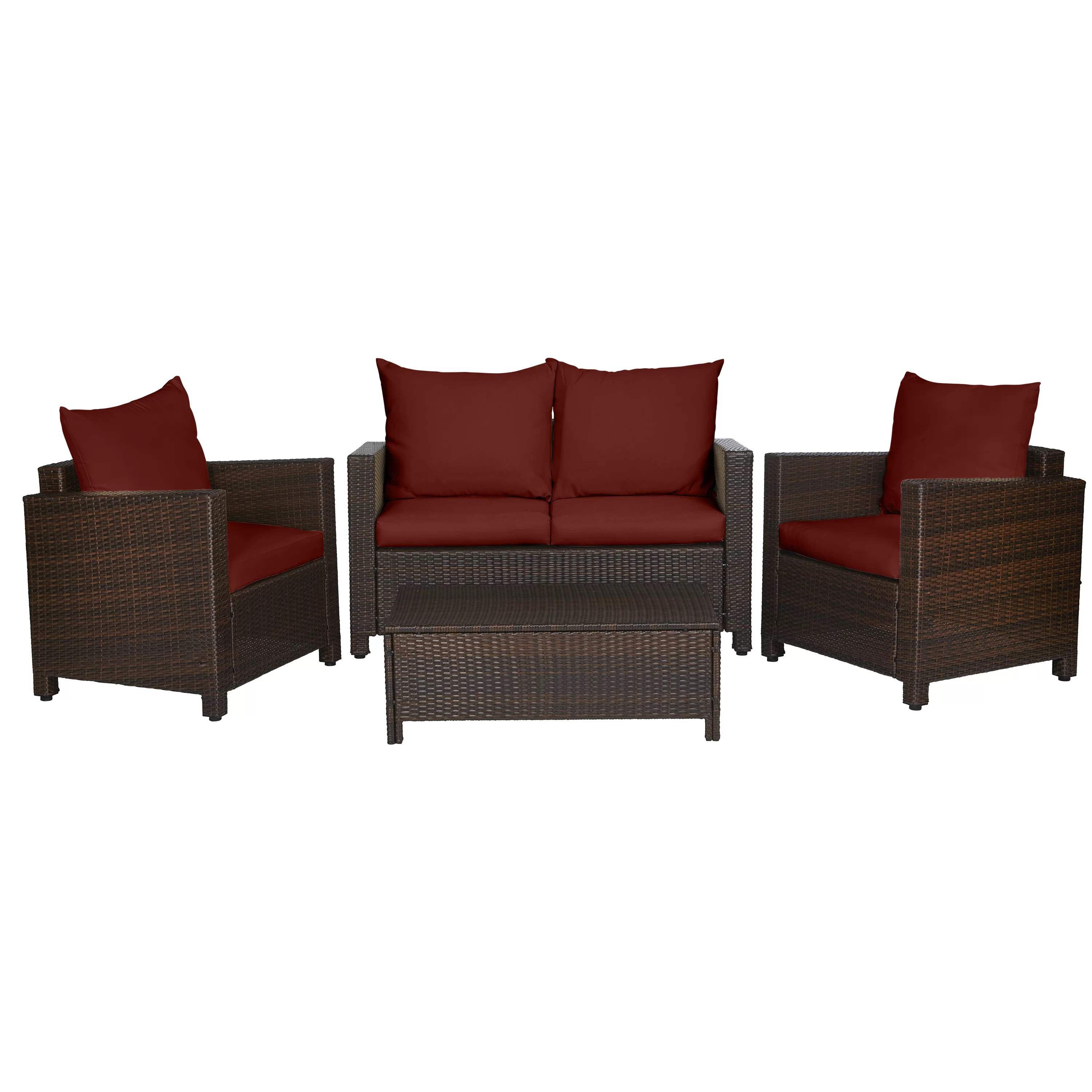 Rattan Sofa Belva 4 Piece Rattan Sofa Set With Cushions