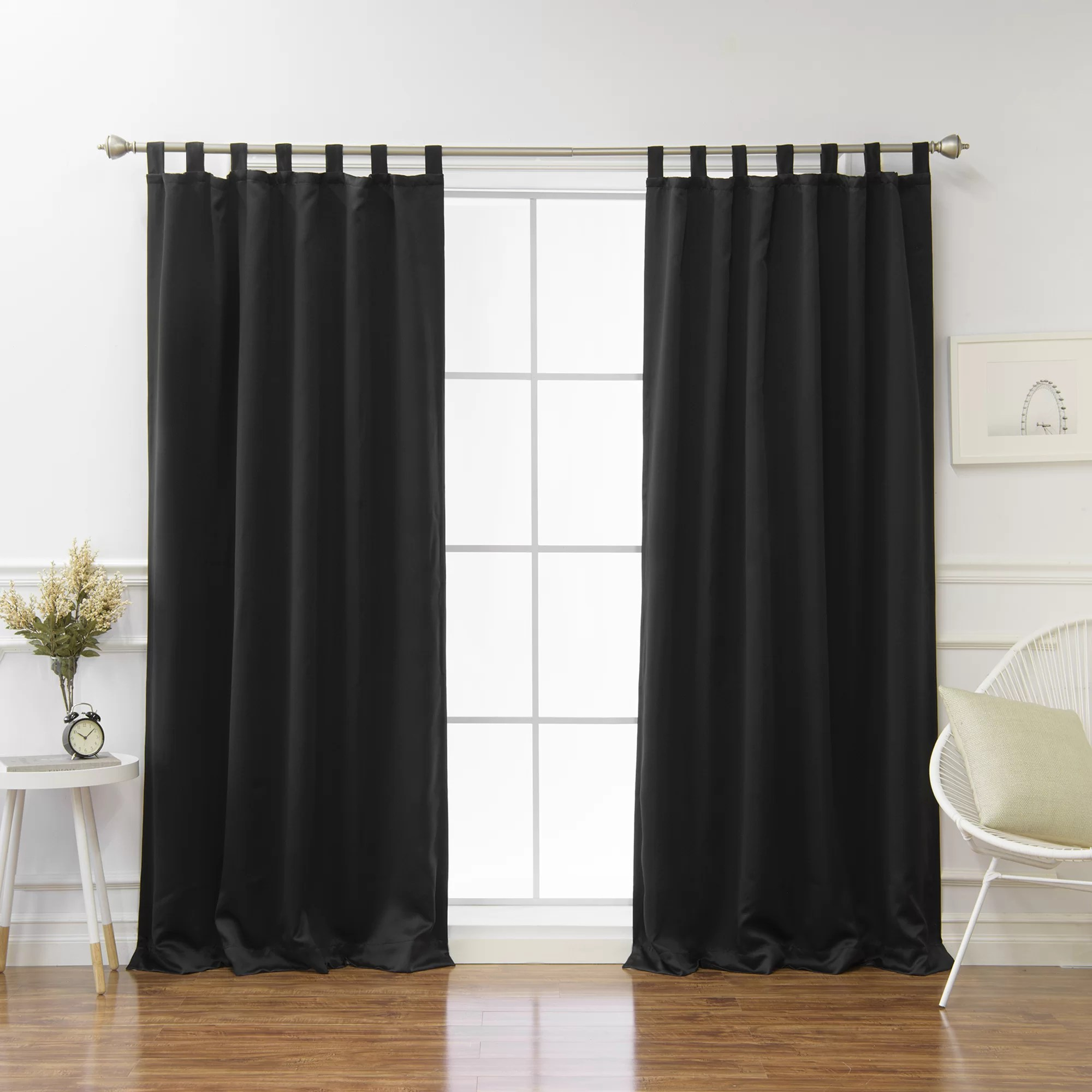 Tab Top Curtain Bennett Basic Insulated Solid Blackout Thermal Tab Top Curtain Panels