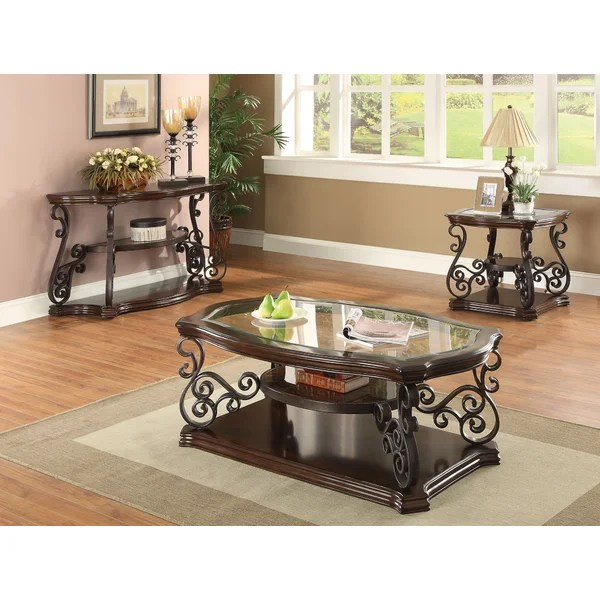 Astoria Grand Bearup 3 Piece Coffee Table Set \ Reviews Wayfair - 3 piece living room table set