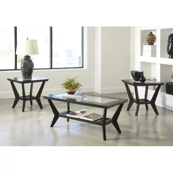 Latitude Run Woodrow 3 Piece Coffee Table Set in Brown \ Reviews - 3 piece living room table set
