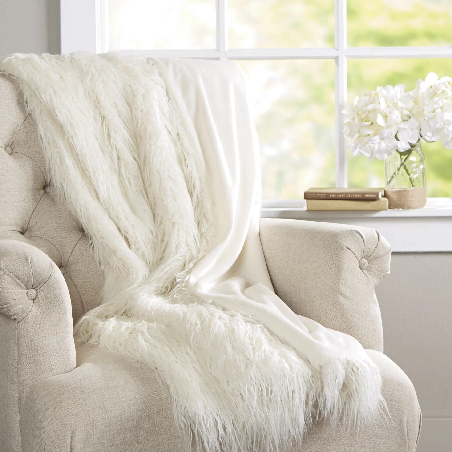 Throw Blankets Cobbett Faux Fur Throw Blanket
