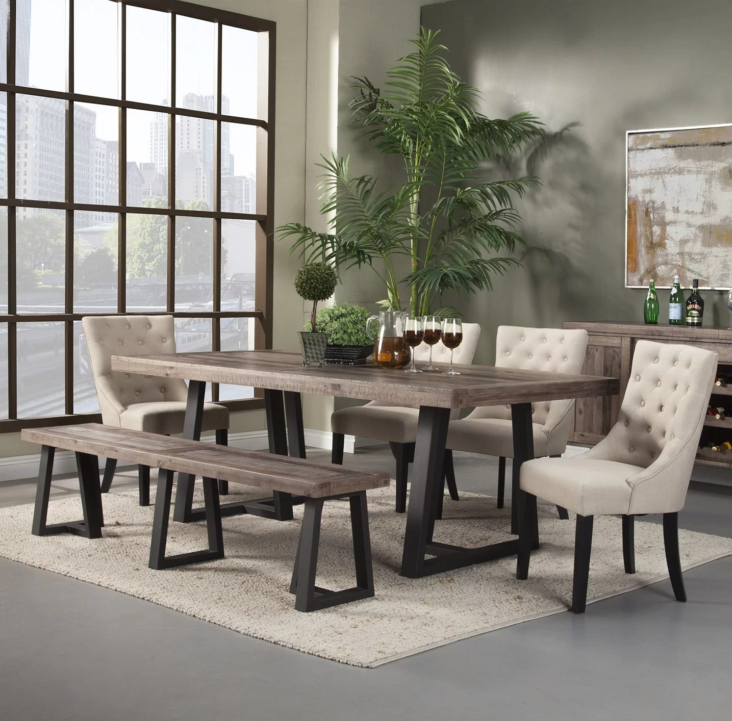Modern Dining Set Bench Kitchen Dining Room Sets You Ll Love Wayfair